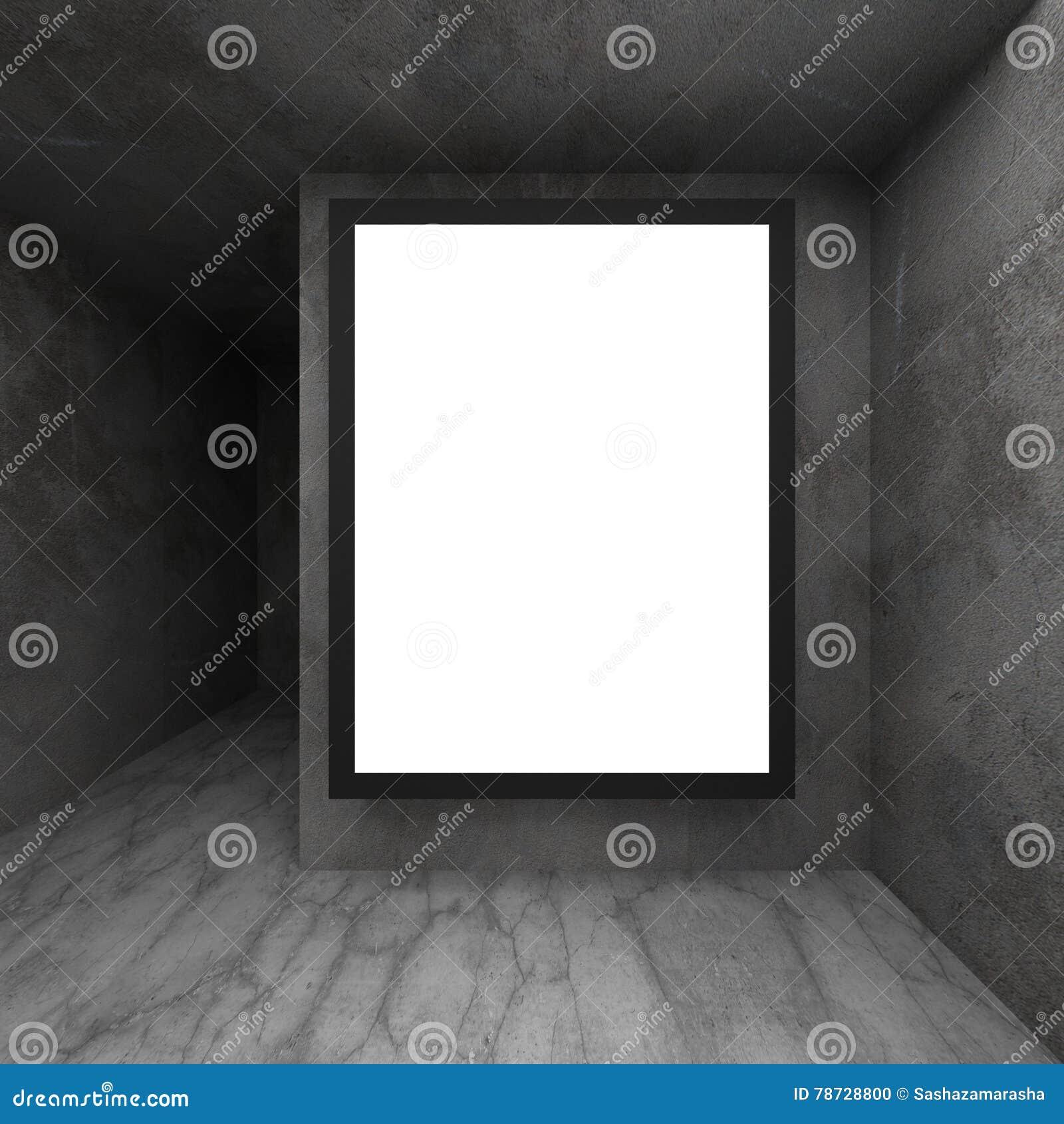Upplyst affischtavla för bred skärm på den mörka betongväggen