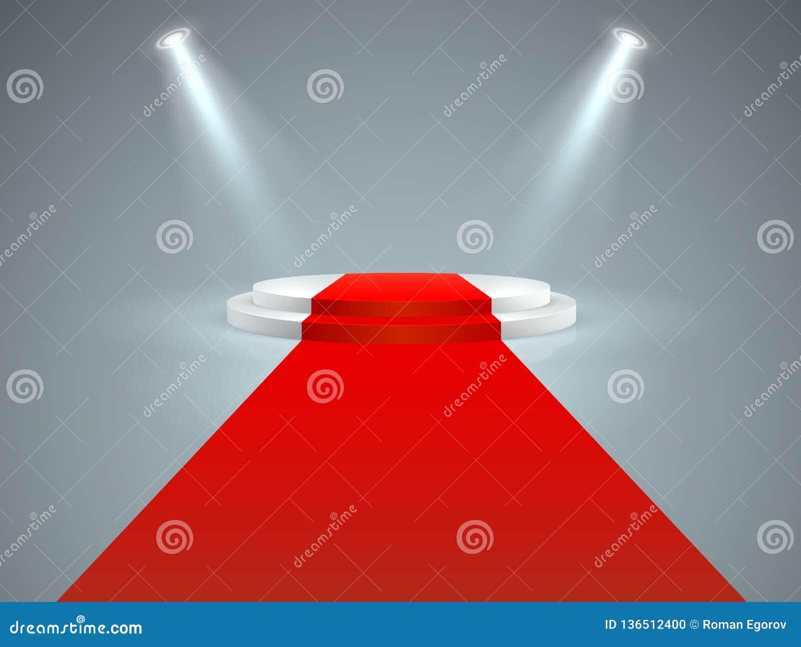 Upplyst podium Riktar uppmärksamheten på röd matta för golvet till det vita podiet, Hollywood filmpremiär, vip-kändislivsstil