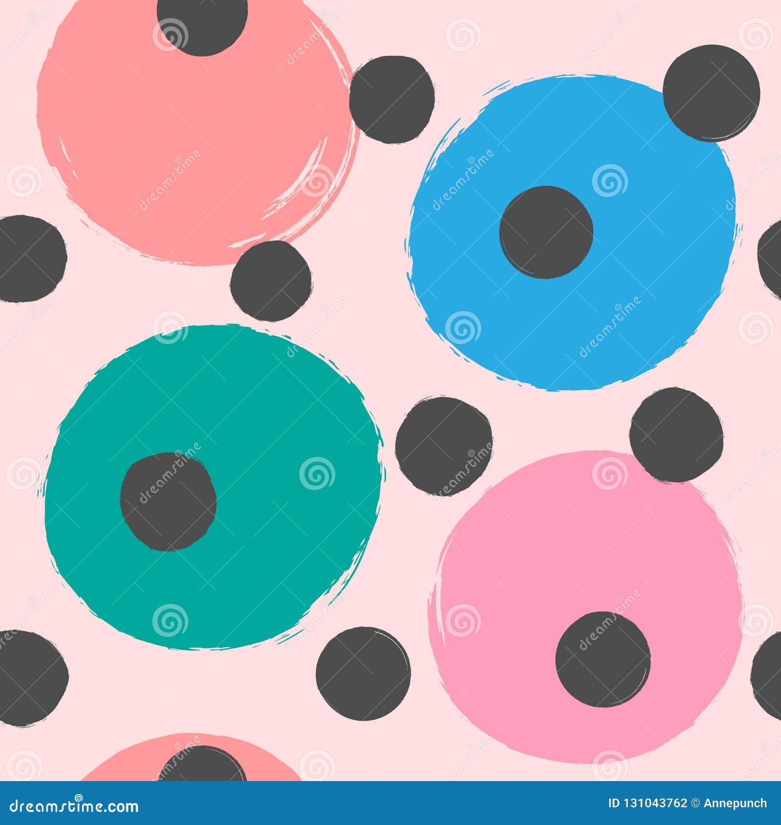 Upprepa kulöra runda fläckar som målas med vattenfärgborsten Gullig sömlös modell för flickor