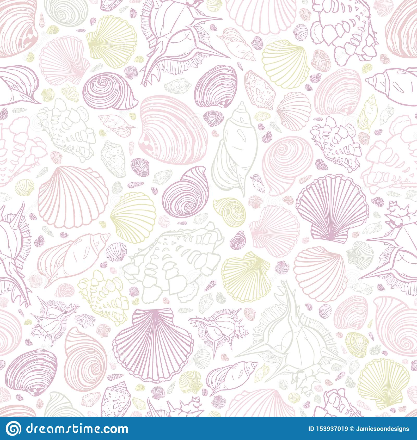 Upprepar vita pastellfärger för vektorn modellen med variation av snäckskal Göra perfekt för hälsningar, inbjudningar, inpackning
