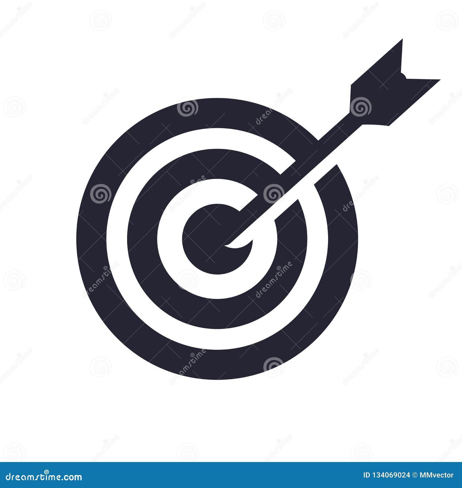 Uppsätta som mål det symbolsvektortecknet och symbolet som isoleras på vit bakgrund, mållogobegrepp