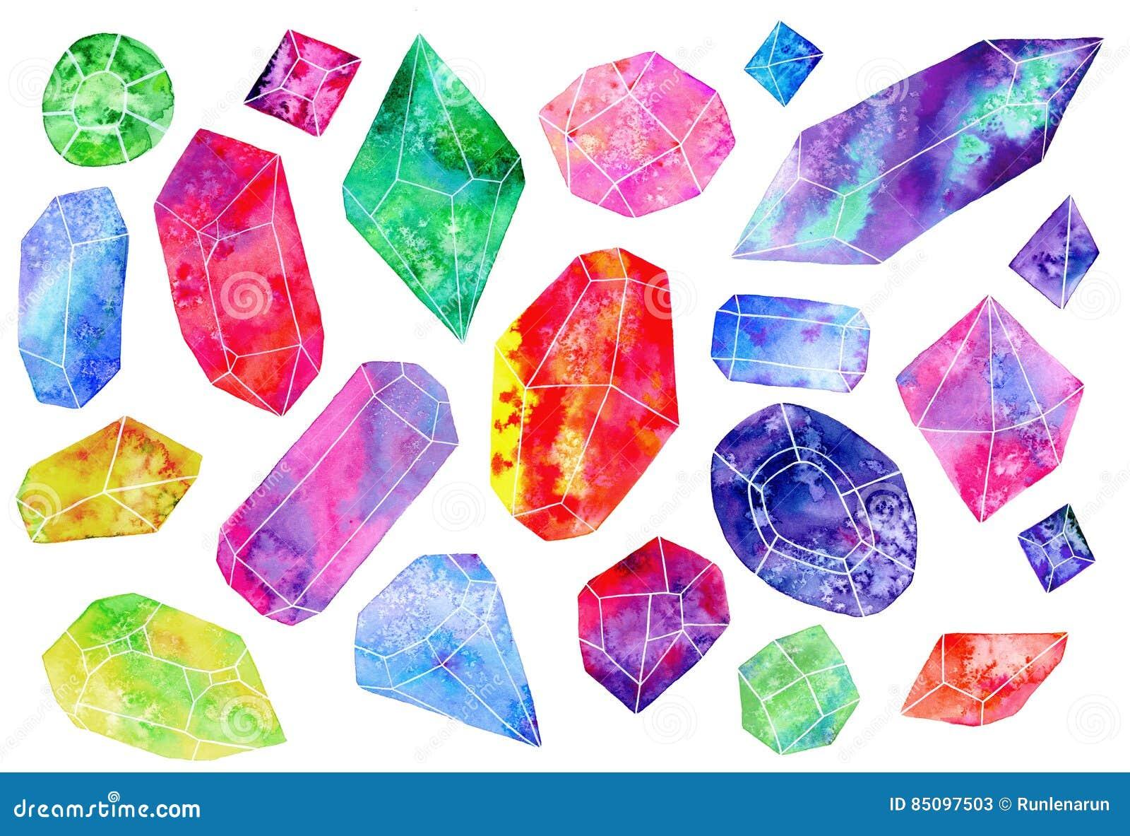 Uppsättning av ädelstenar eller kristaller för flygillustration för näbb dekorativ bild dess paper stycksvalavattenfärg