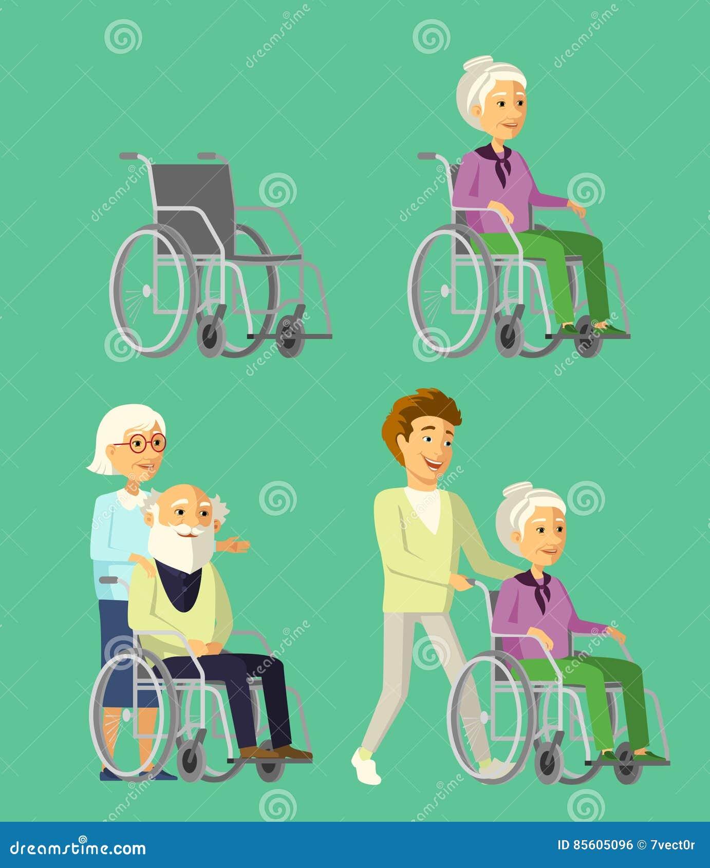 Uppsättning av äldre folk i rullstol Socialarbetare som strosar med den höga kvinnan i rullstol