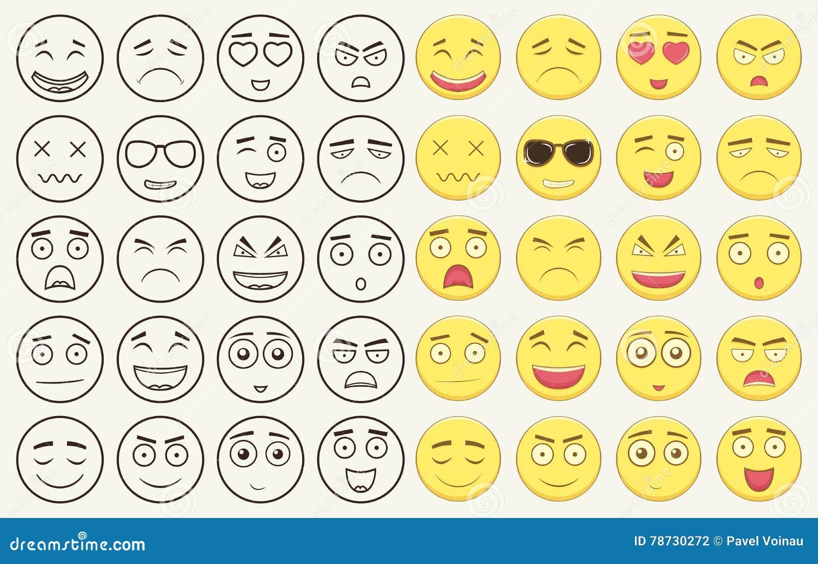 Uppsättning av översikten och färgrika emoticons, emoji som isoleras på vit bakgrund Emoticon för webbplatsen, pratstund, sms vek