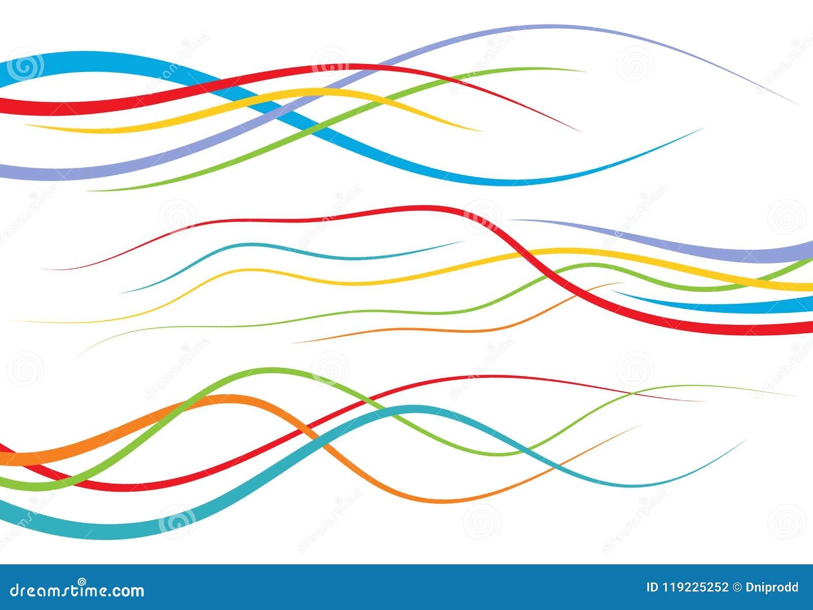 Uppsättning av abstrakt färg buktade linjer Vågdesignbeståndsdel