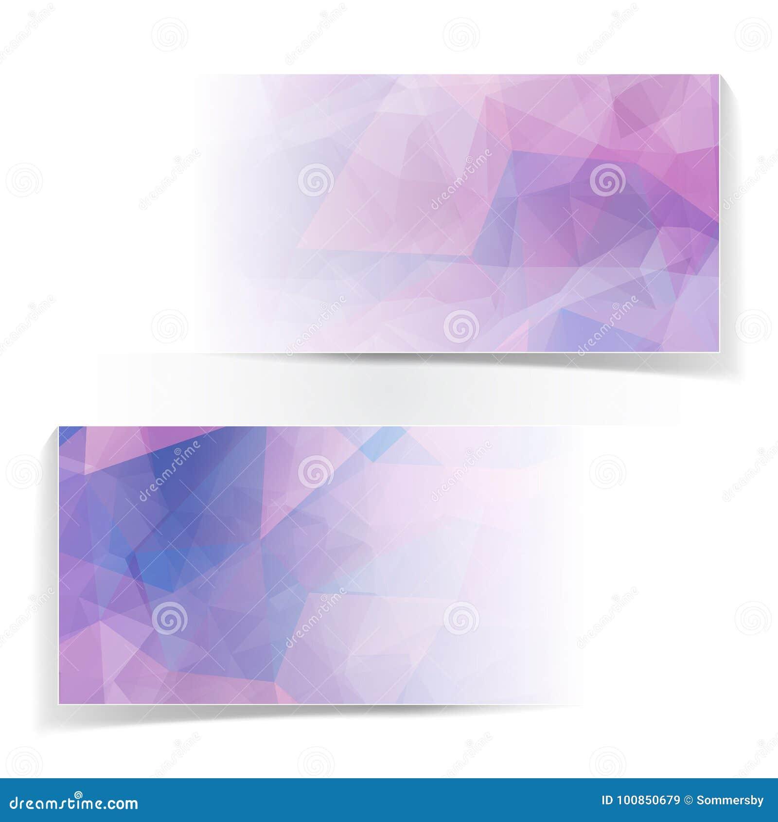Uppsättning av abstrakta rosa triangulära Polygonal titelrader