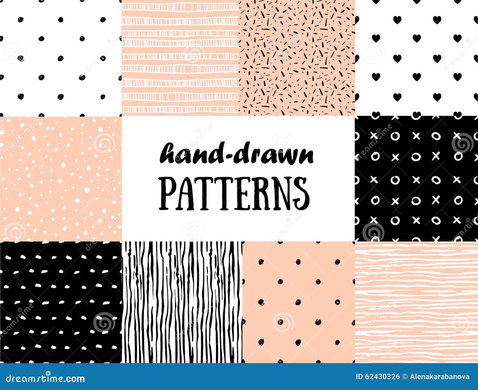 Uppsättning av abstrakta sömlösa modeller i rosa färger, vit och svart