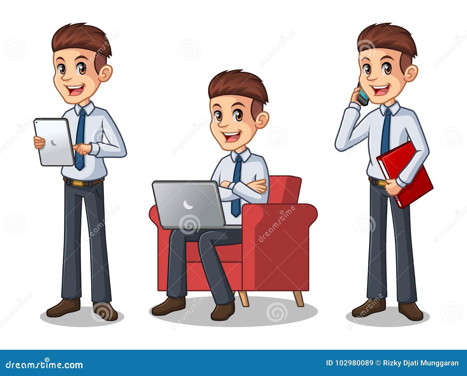 Uppsättning av affärsmannen i skjortan som arbetar på grejer