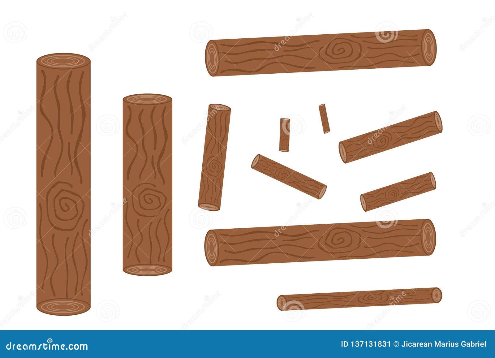 Uppsättning av att logga, stubbar och illustrationen för bräde-, vedtrave- och trälogs—materiel