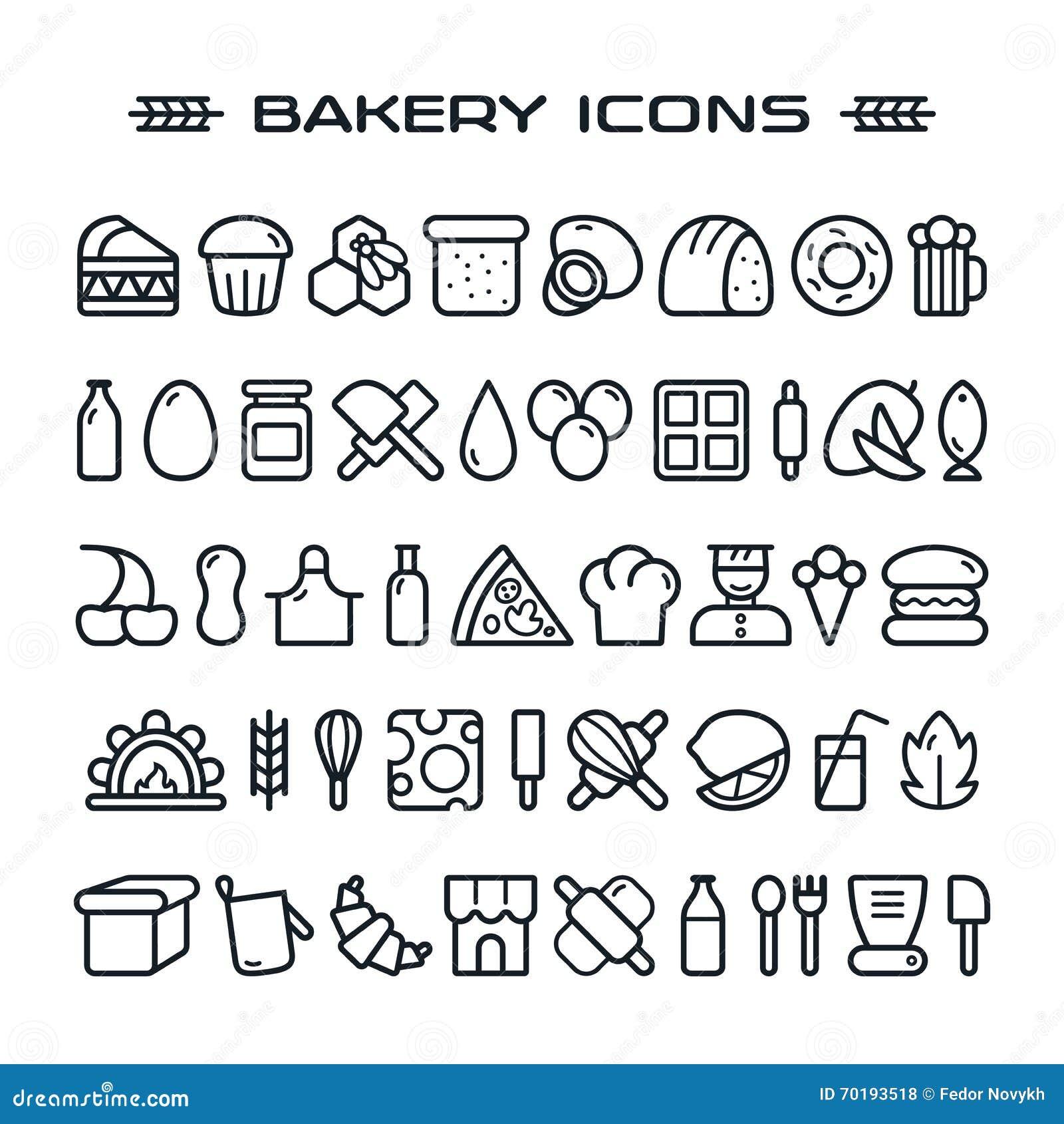 Uppsättning av bagerisymboler i den tunna linjen stil