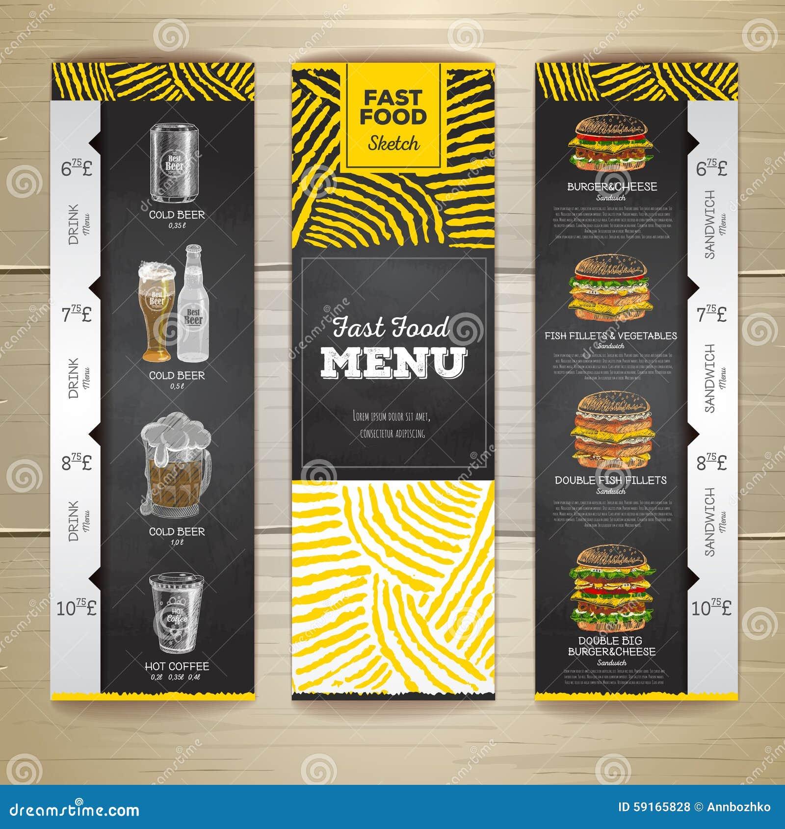 Uppsättning av baner för meny för snabbmat för tappningkritateckning Smörgås