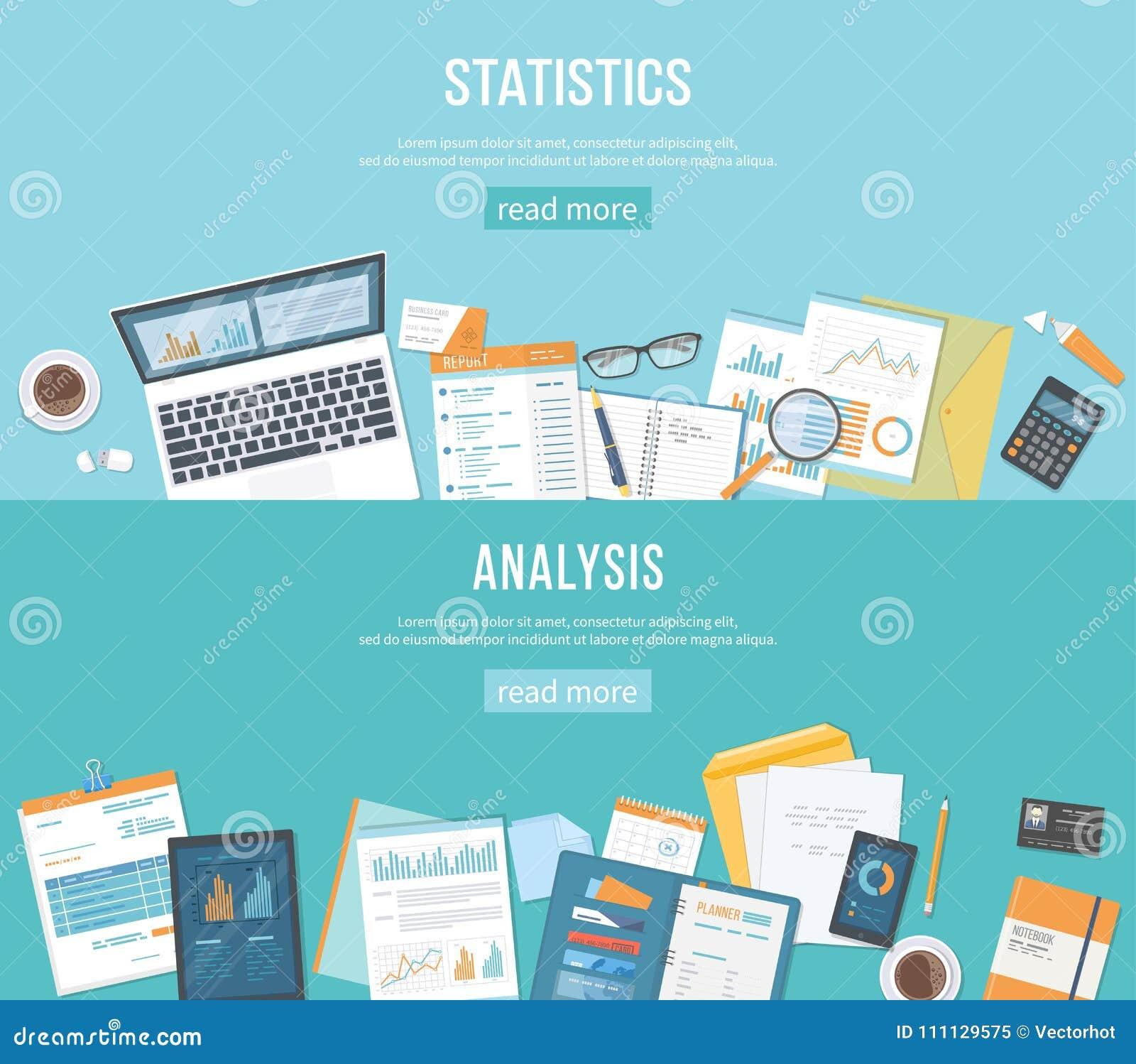 Uppsättning av banerbakgrunder för affär och finans Statistik analys Dokument diagram, mappar