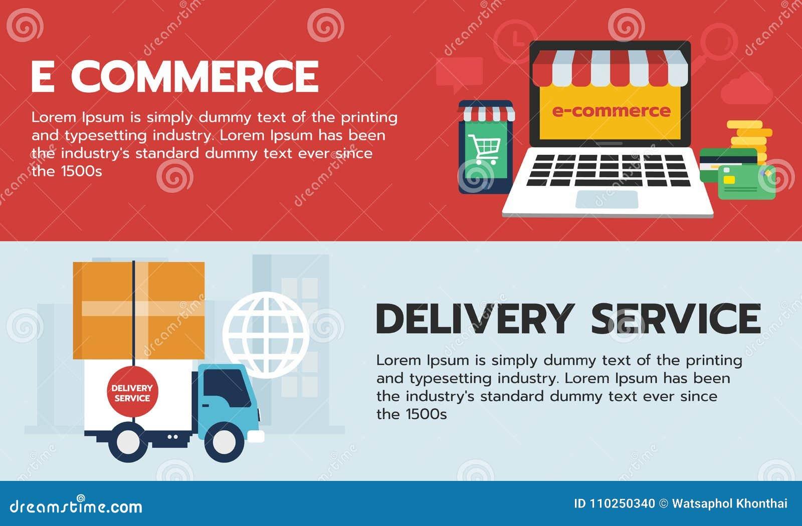 Uppsättning av baneronline-shopping, e-kommers på apparaten och lastbilsändningshemsändning