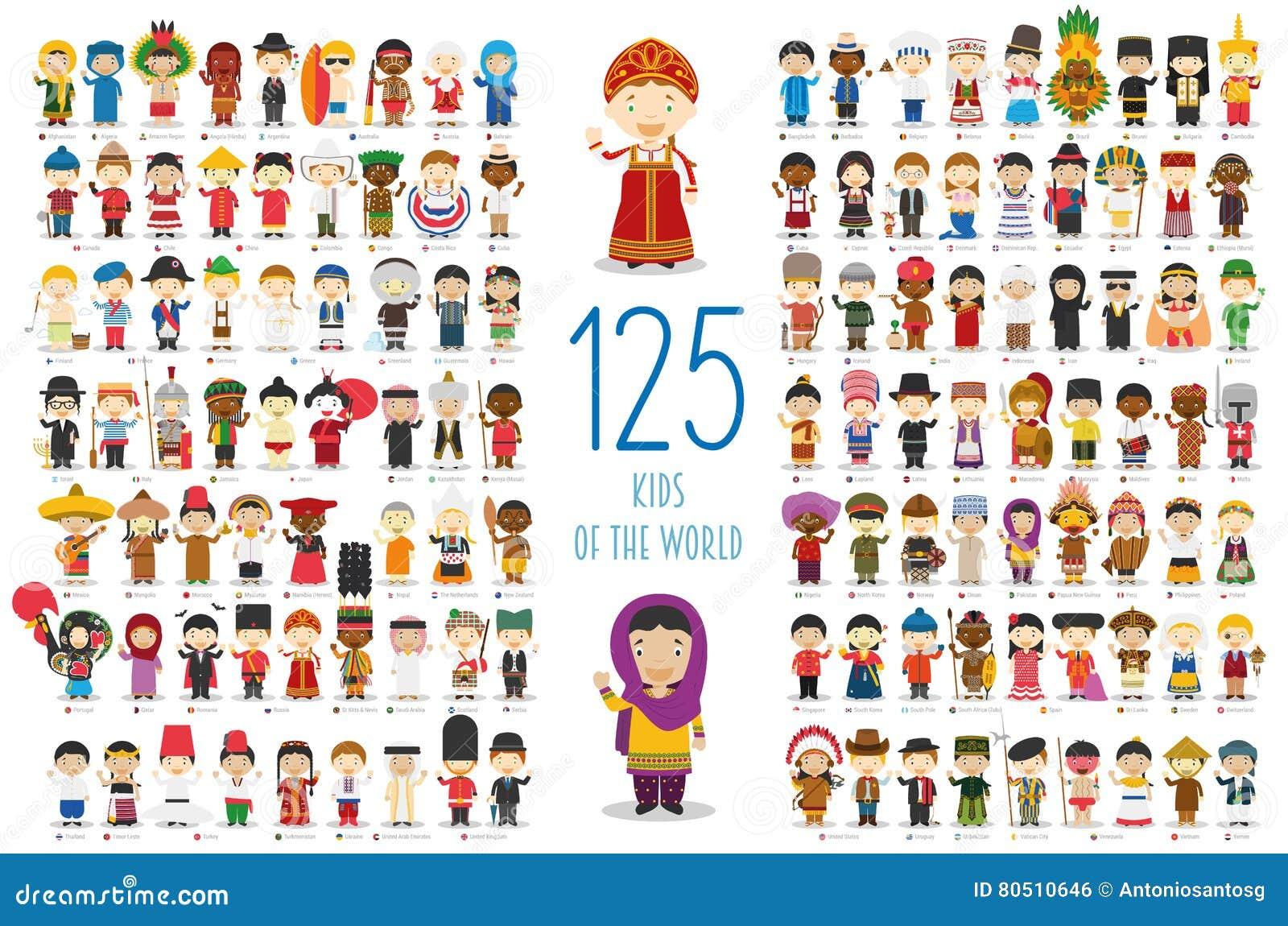 Uppsättning av 125 barn av olika nationaliteter i tecknad filmstil