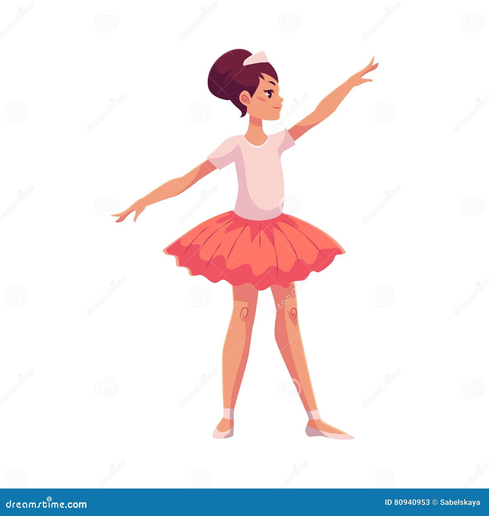 Uppsättning av behagfulla nätta unga ballerina i rosa ballerinakjol