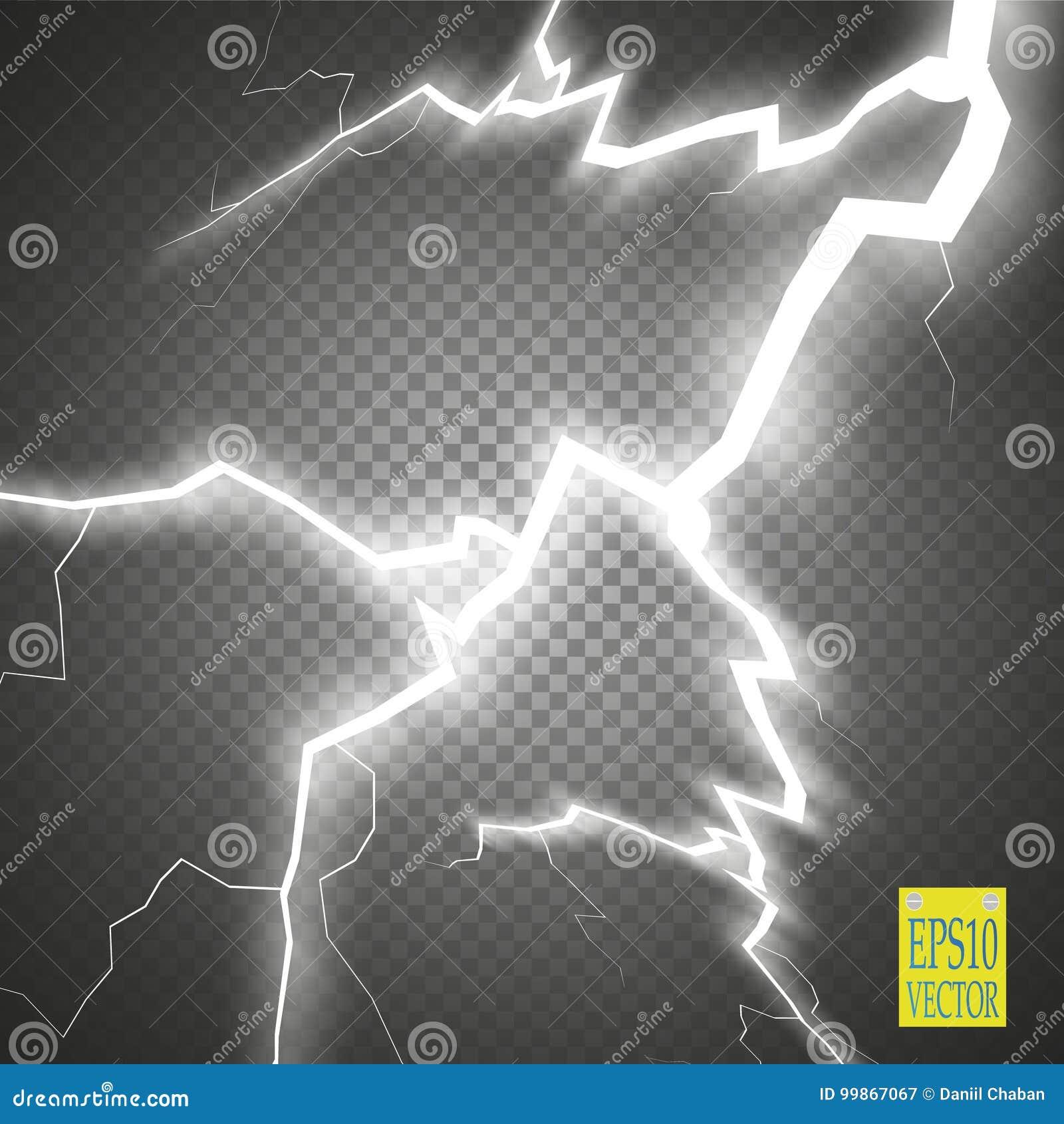 Uppsättning av blixtar Åska-storm och blixtar Magiska och ljusa belysningeffekter