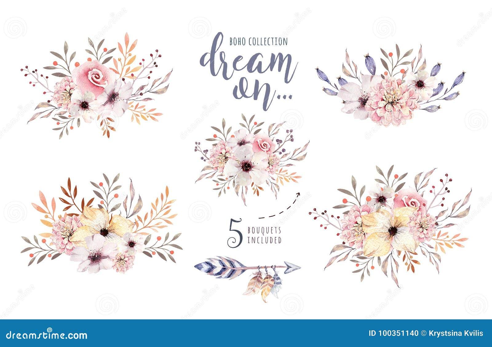 Uppsättning av blom- buketter för vattenfärgboho Bohemisk naturlig ram för akvarell: sidor befjädrar, blommor som isoleras på vit