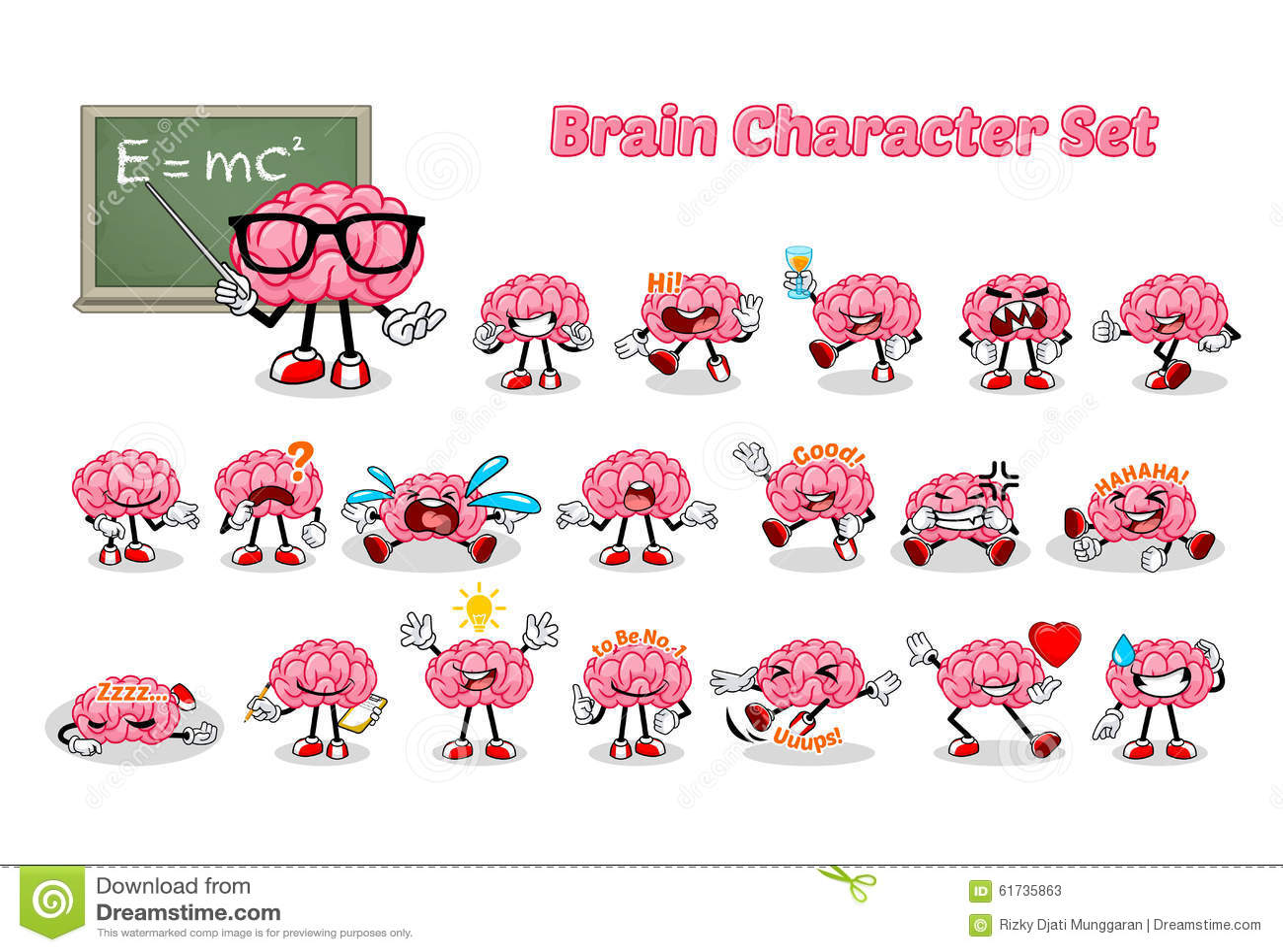 Uppsättning av Brain Cartoon Character