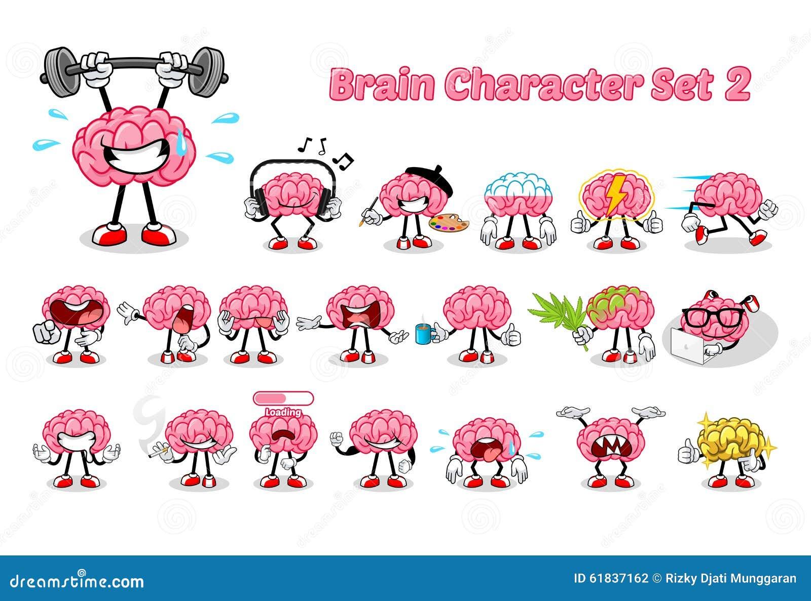 Uppsättning av Brain Cartoon Character 2