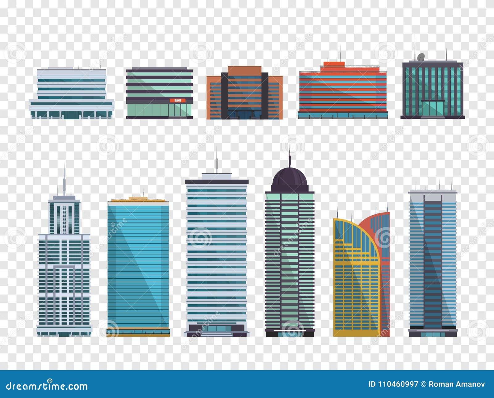 Uppsättning av byggnader i plan stil stadsdesignen houses illustrationen dig också vektor för coreldrawillustration