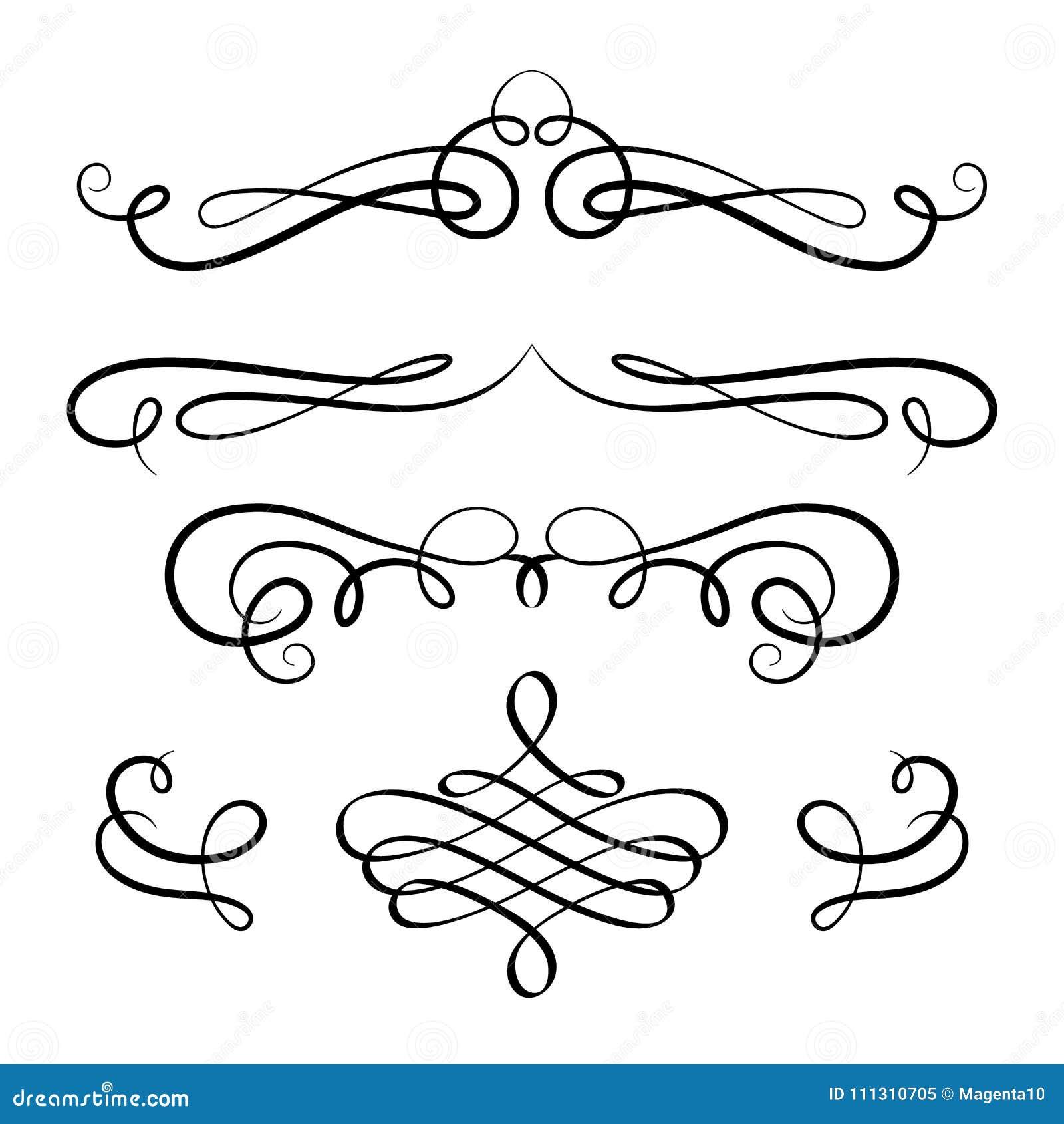 Uppsättning av calligraphic karaktärsteckningar och krusidullar för tappning