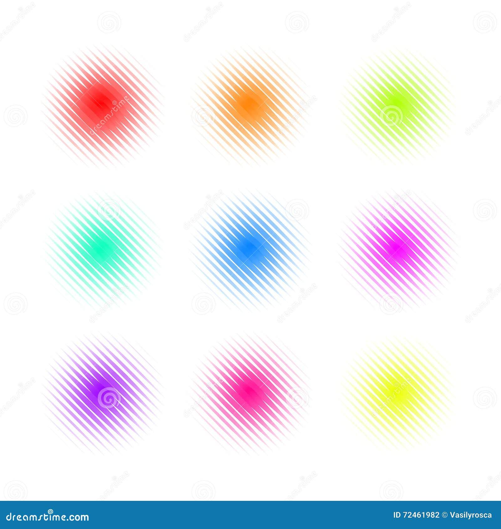 Uppsättning av cirkeln färgrika fyrkantiga Dot Banners Bullriga runda begrepp