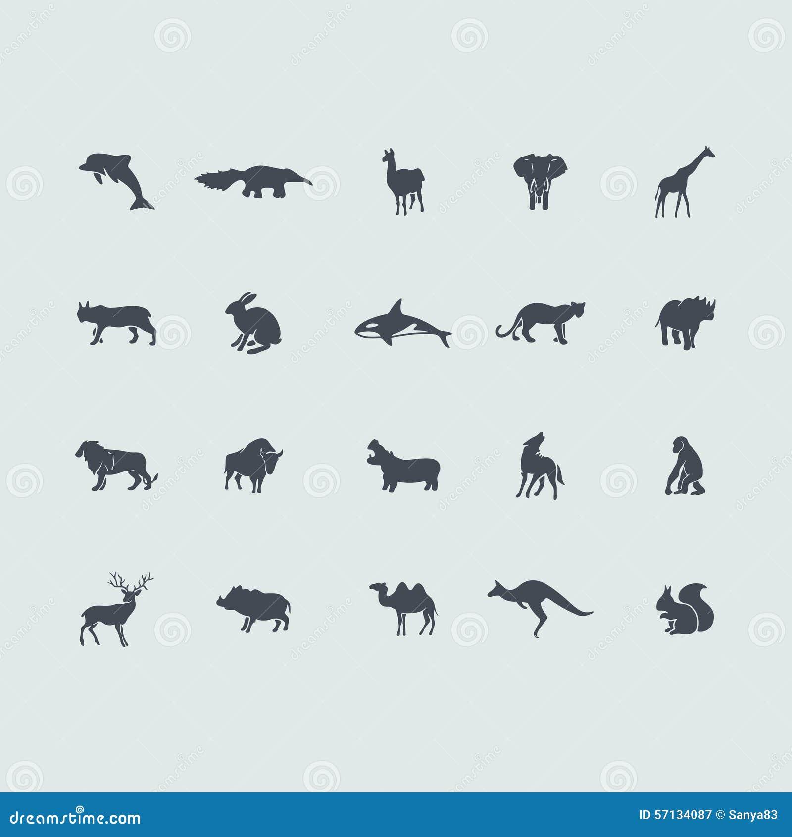 Uppsättning av däggdjursymboler