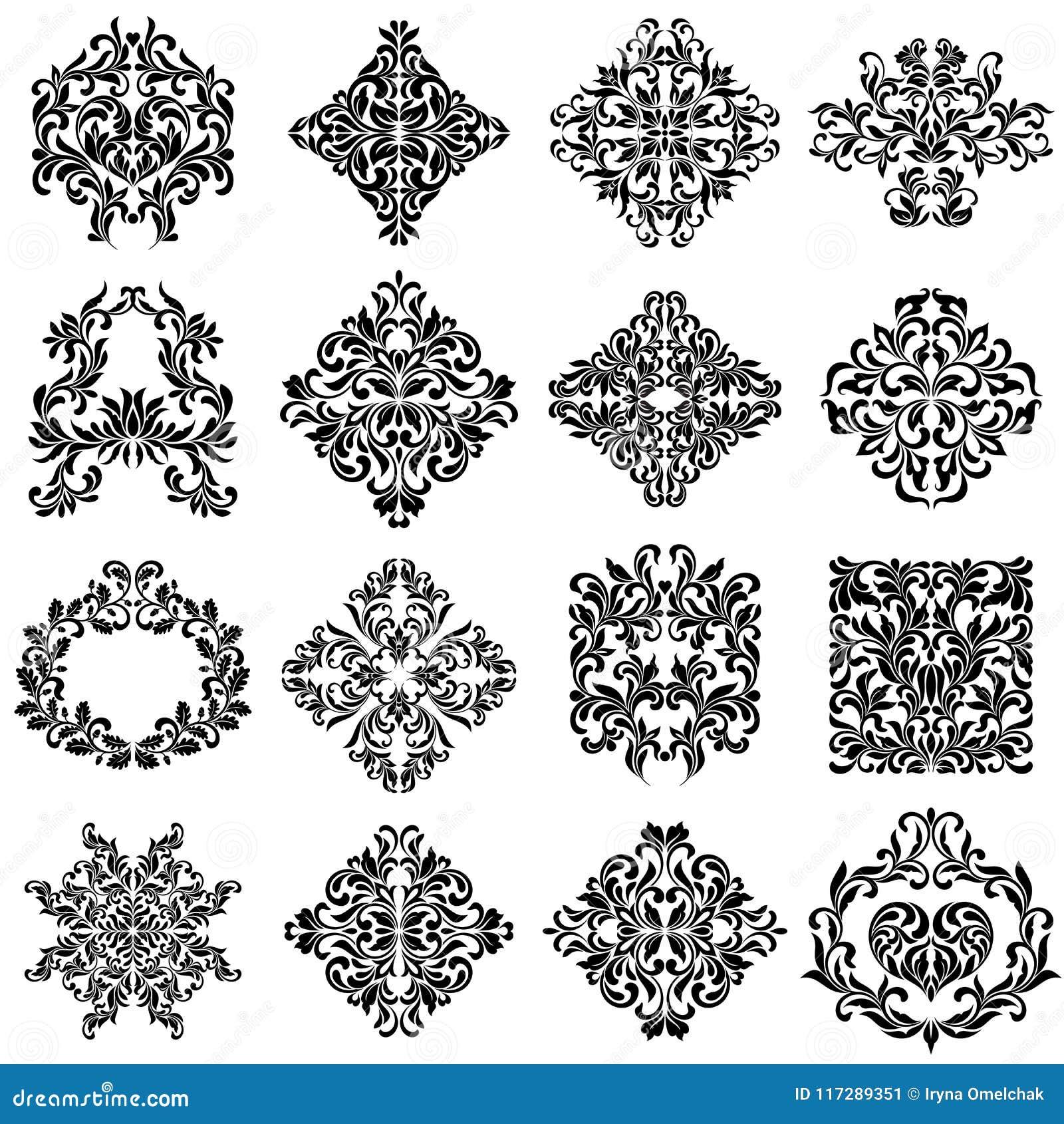 Uppsättning av damastprydnader för designbruk Eleganta blom- och tappningbeståndsdelar Smyckningar som isoleras på vit bakgrund