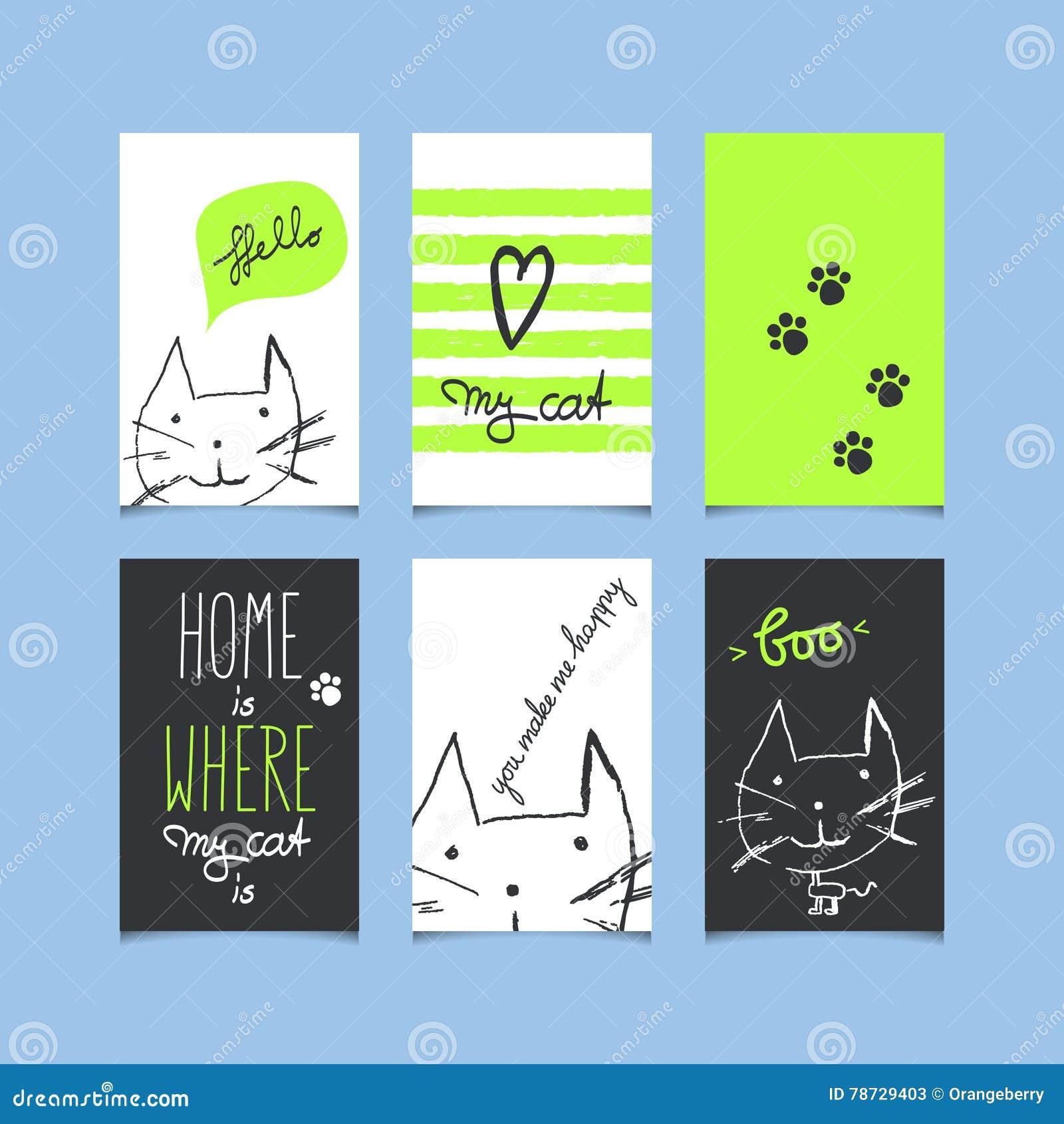Uppsättning av dekorativa hälsningkort med katter