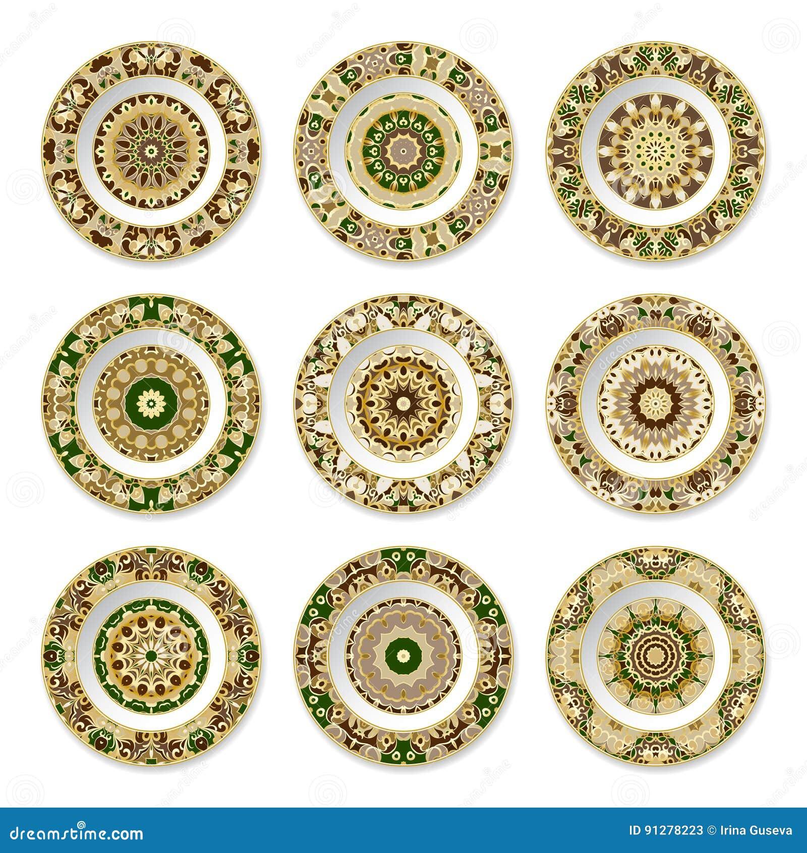 Uppsättning av dekorativa plattor