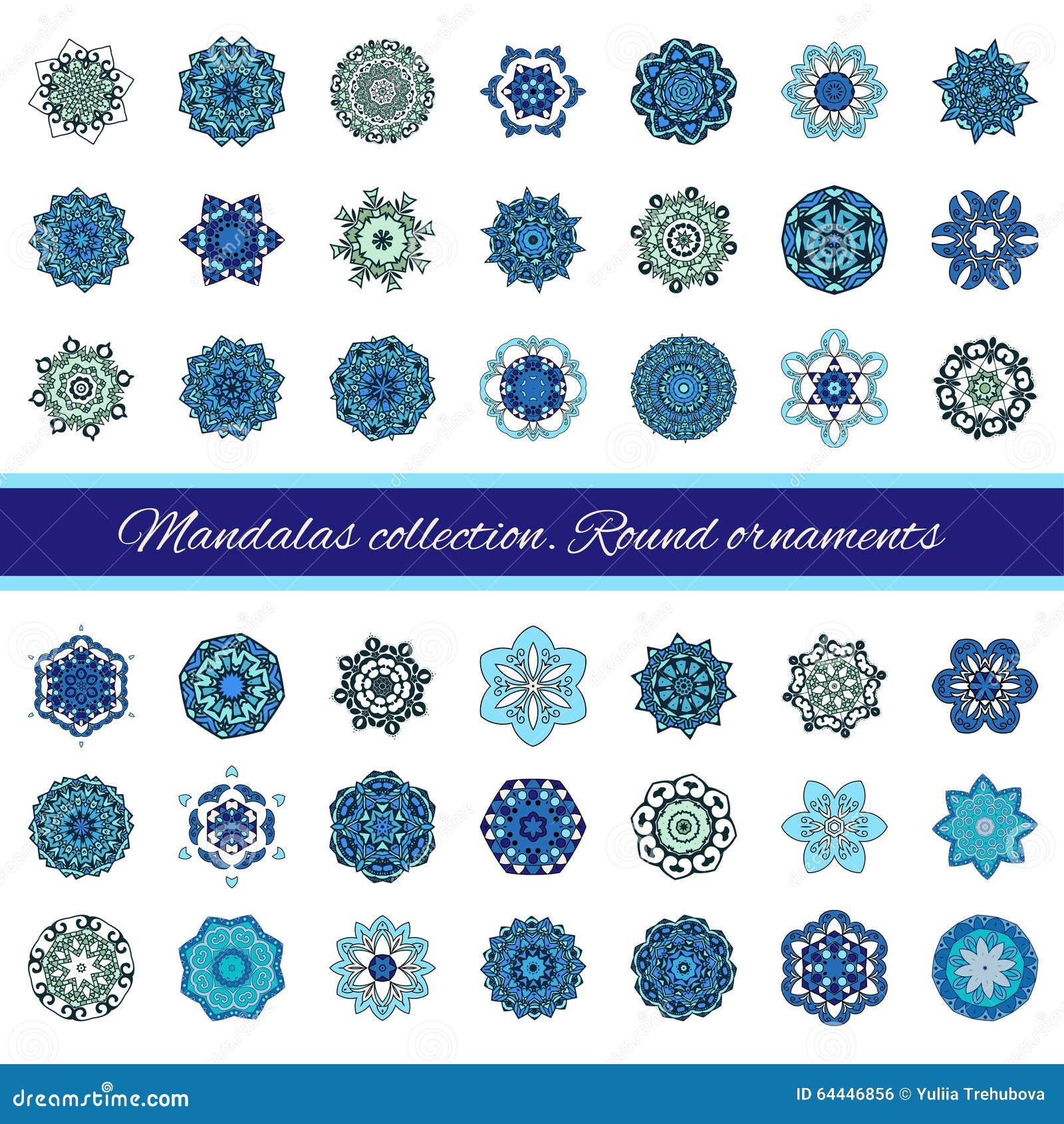 Uppsättning av den abstrakta designbeståndsdelen Runda mandalas i vektor Grafisk mall för din design Dekorativ retro prydnad teck