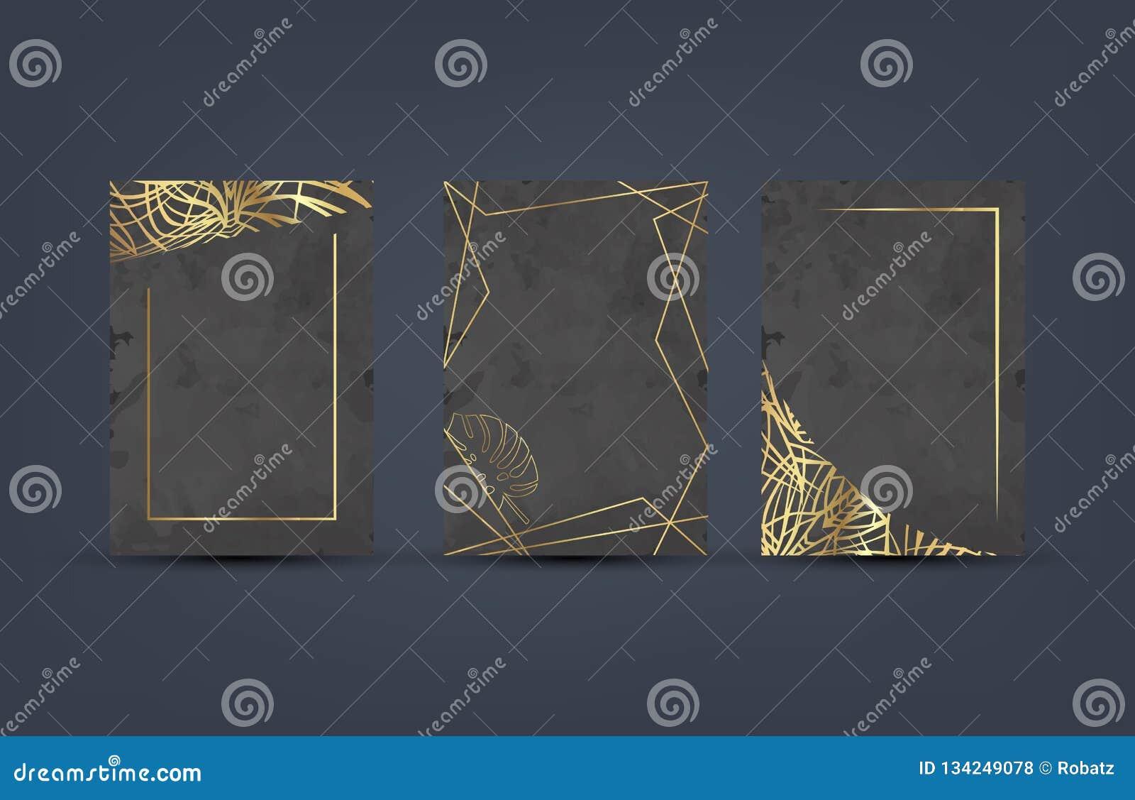 Uppsättning av den eleganta lyxiga broschyren, kort, bakgrundsräkning Svart och guld- abstrakt vattenfärgbakgrundstextur geometri