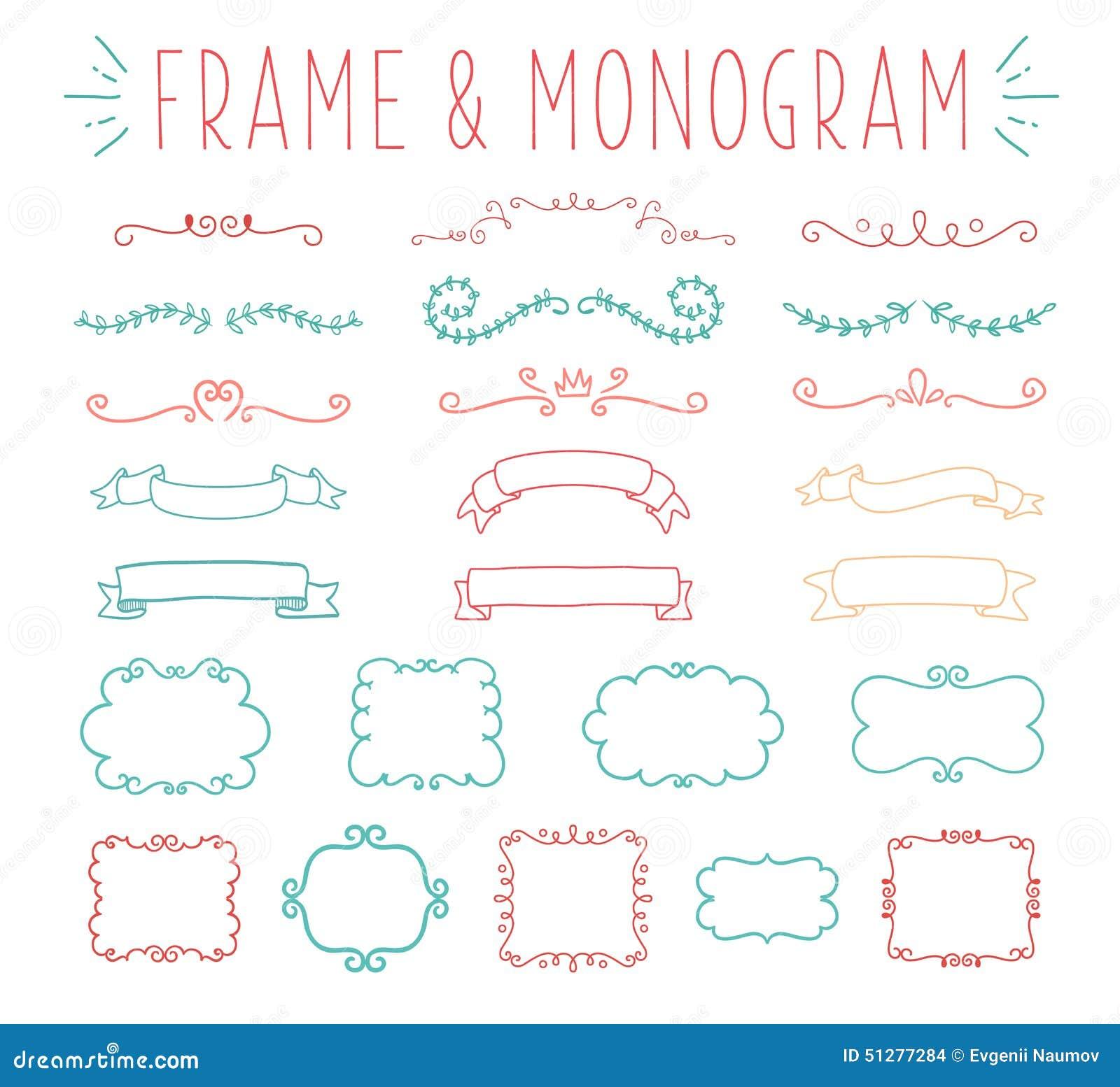 Uppsättning av den enkla och behagfulla monogramdesignen