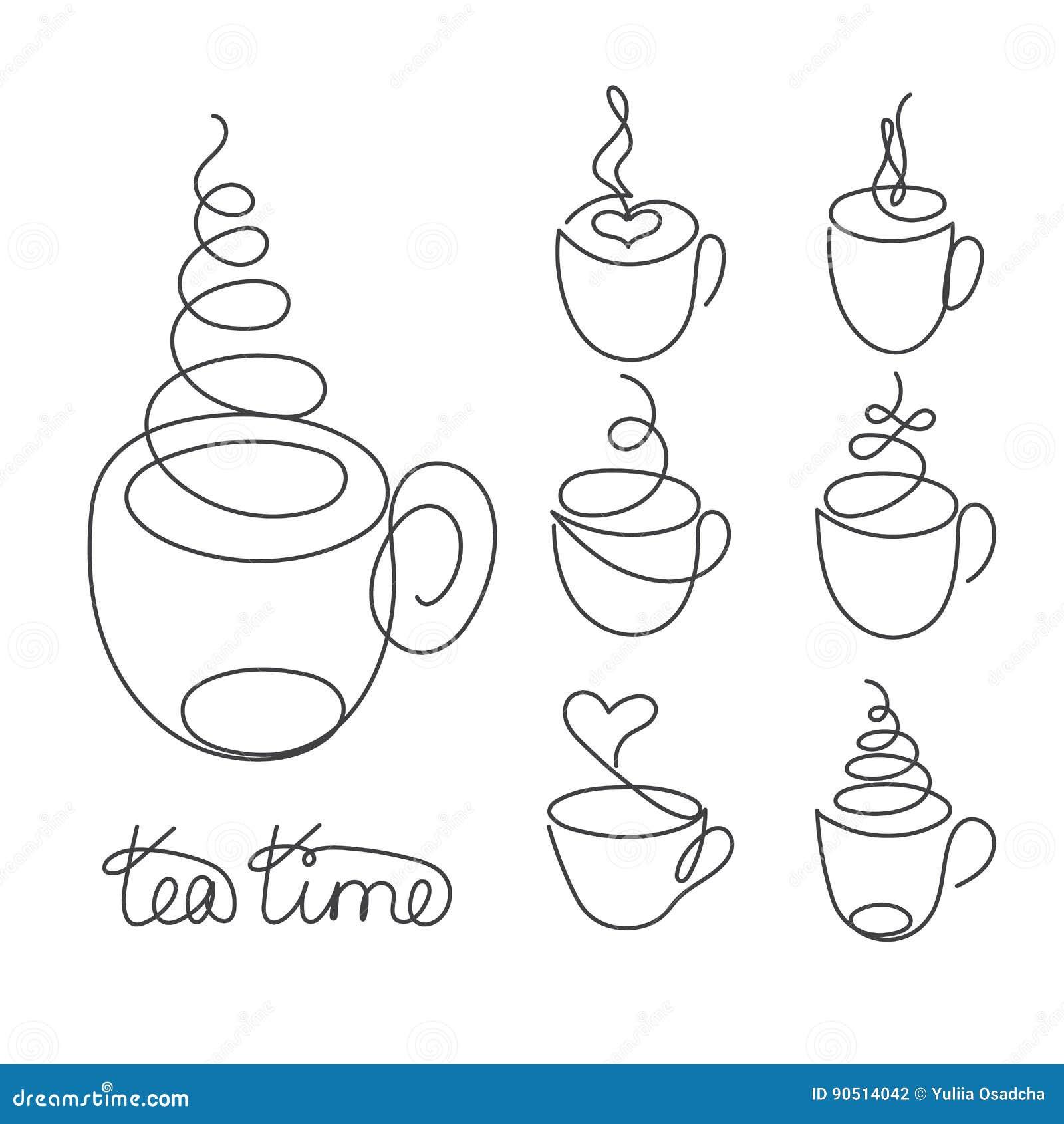 Uppsättning av den fortlöpande linjen koppar av varmt te eller kaffe med ånga