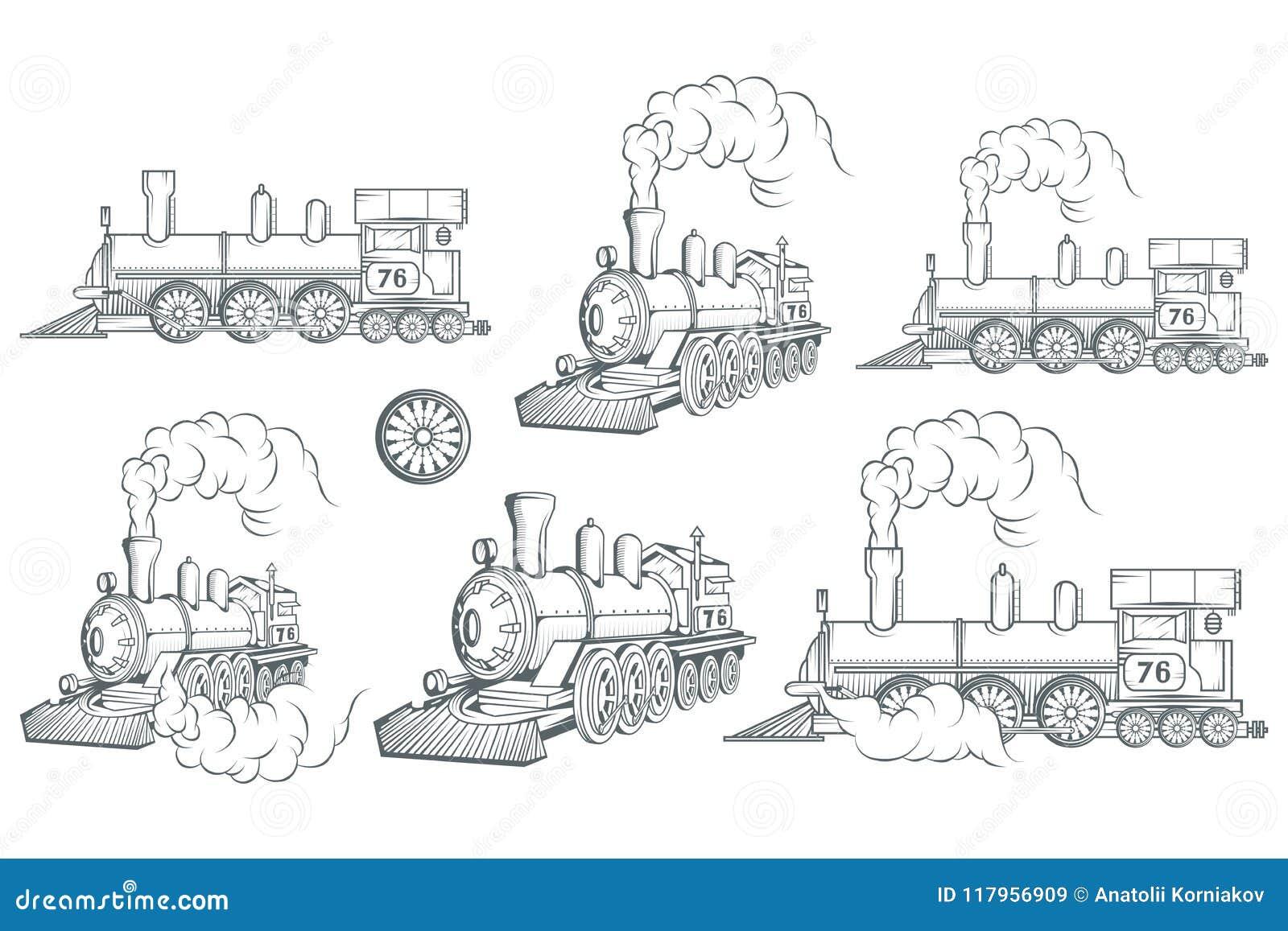 Uppsättning av den olika lokomotivet Gammal drevlogo Rörlig teckning Ångatransport