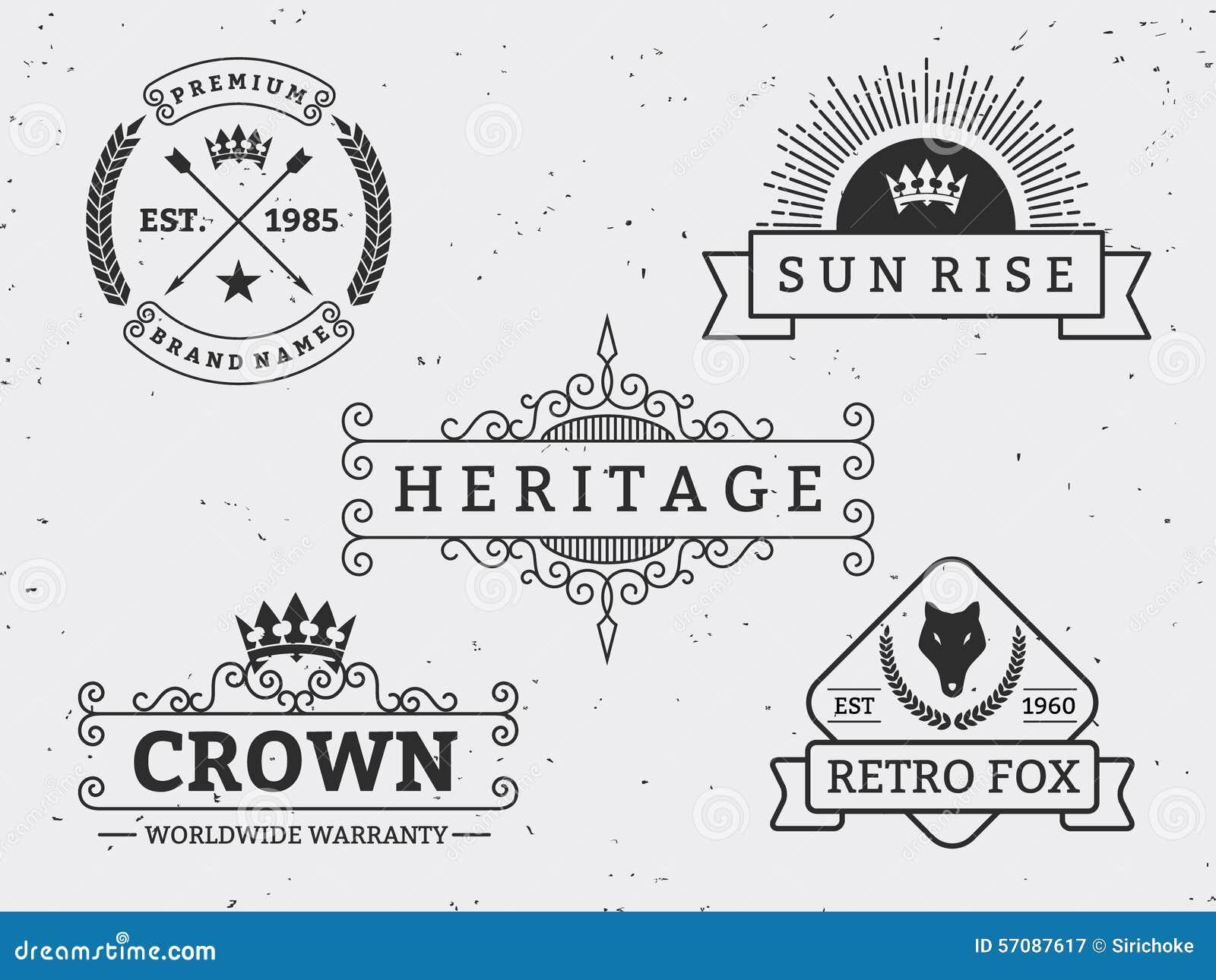 Uppsättning av den olika retro emblemdesignen