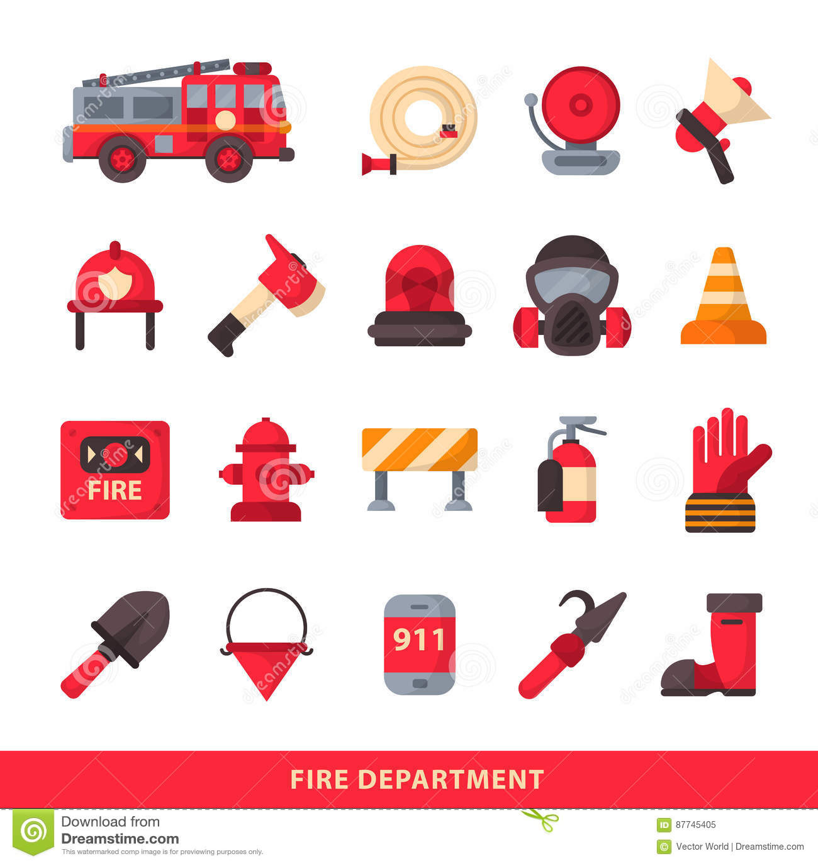Uppsättning av den planlagda symboler för brandstation för brandman beståndsdelar färgade nöd- och brandmannen för utrustning för