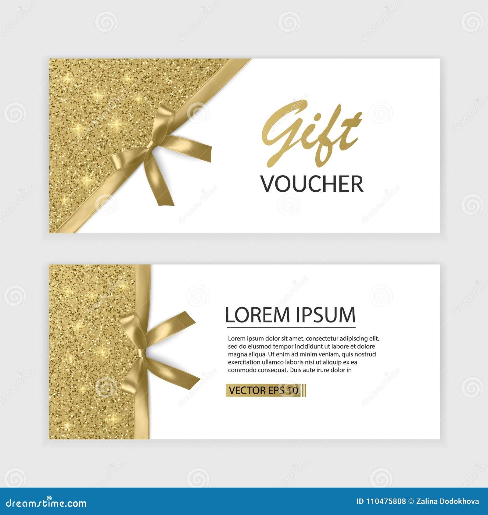 Uppsättning av den presentkortkortmallen, advertizingen eller Sale mallen med blänker textur och den realistiska pilbågeillustrat