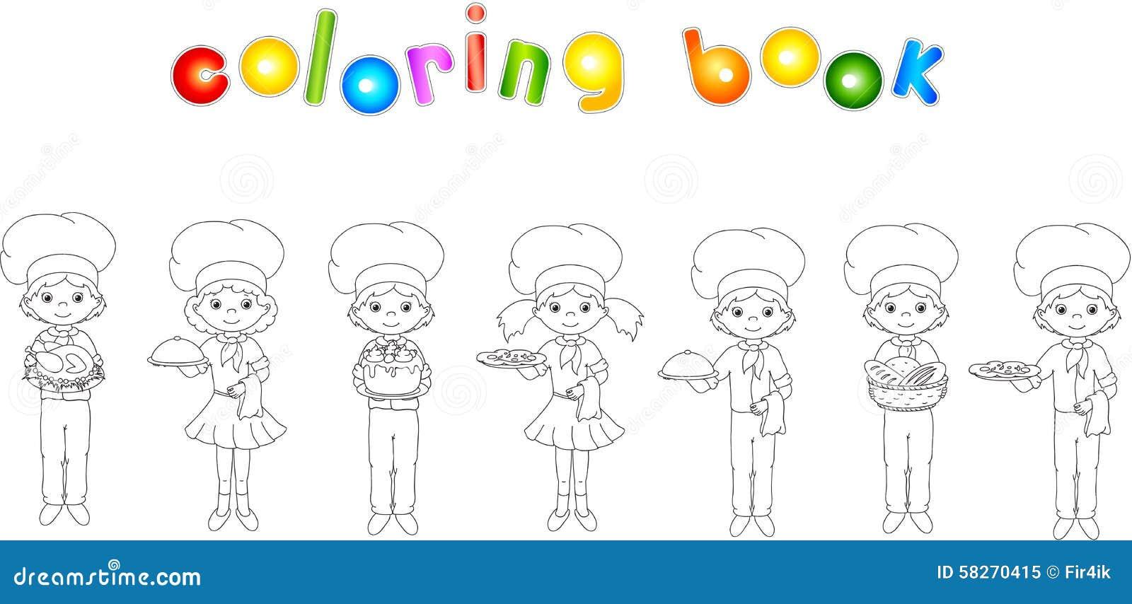 Uppsättning av den tecknad filmuppassaren, kocken och kocken Färgläggningbok för ungar