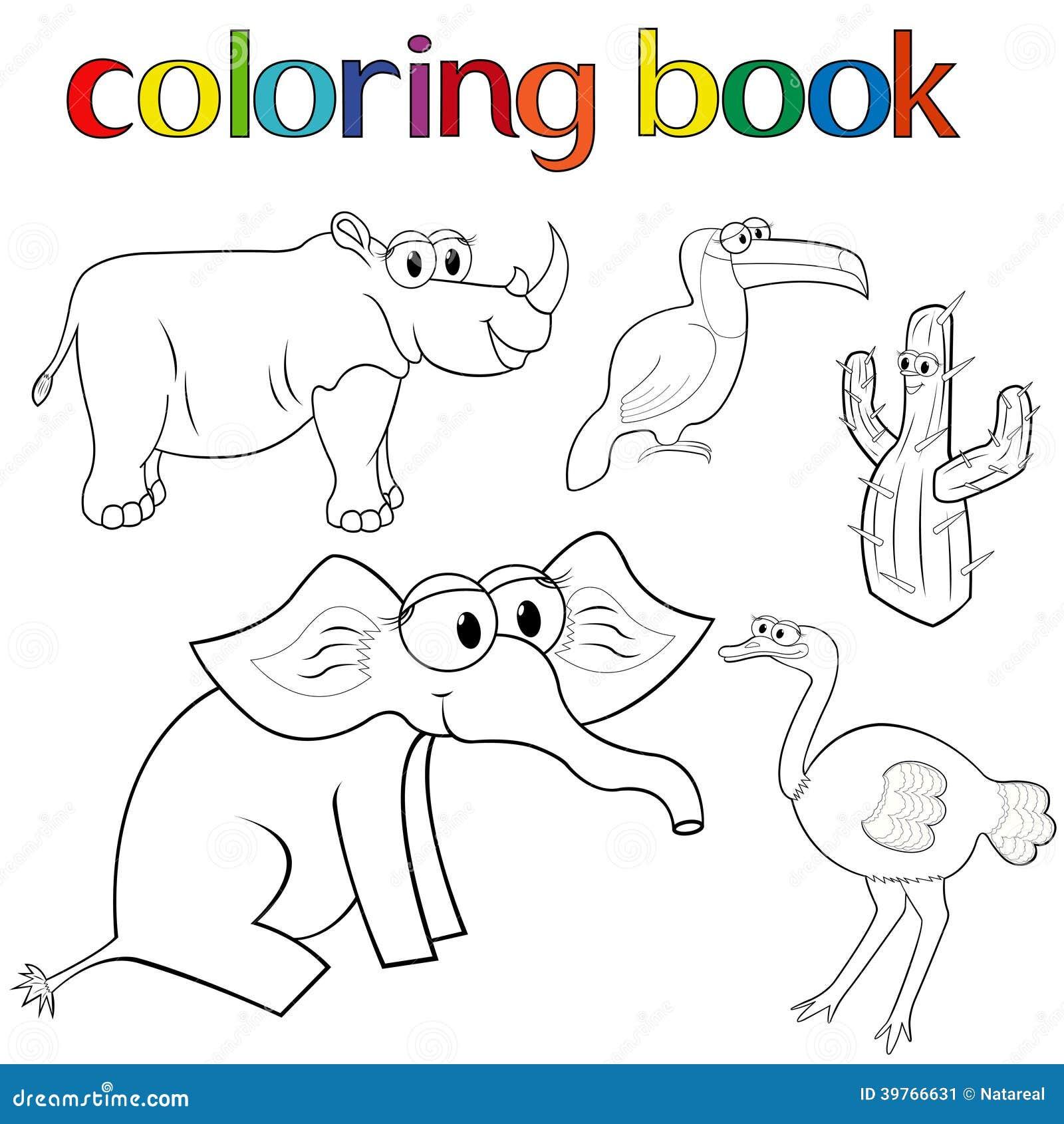 Uppsättning av djur och kaktuns för färgläggningbok