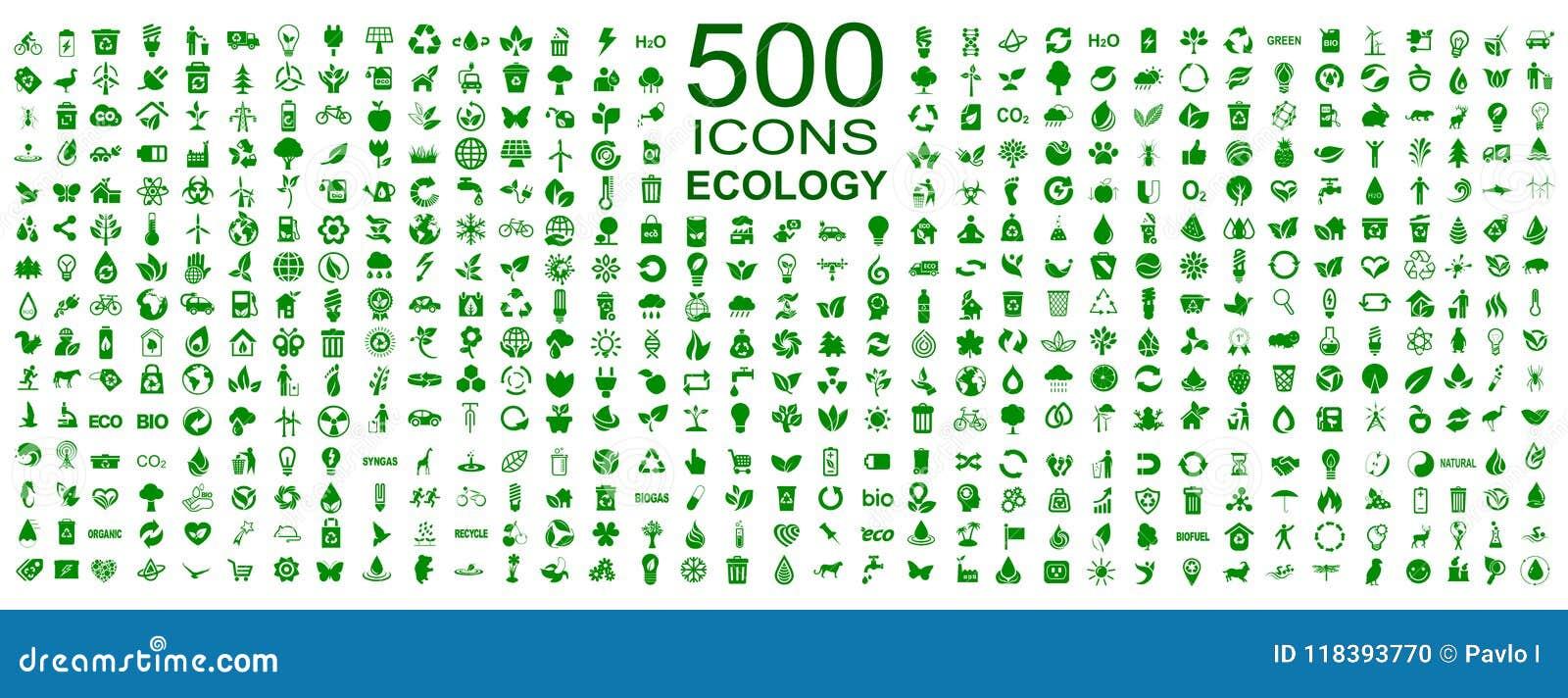 Uppsättning av 500 ekologisymboler - vektor