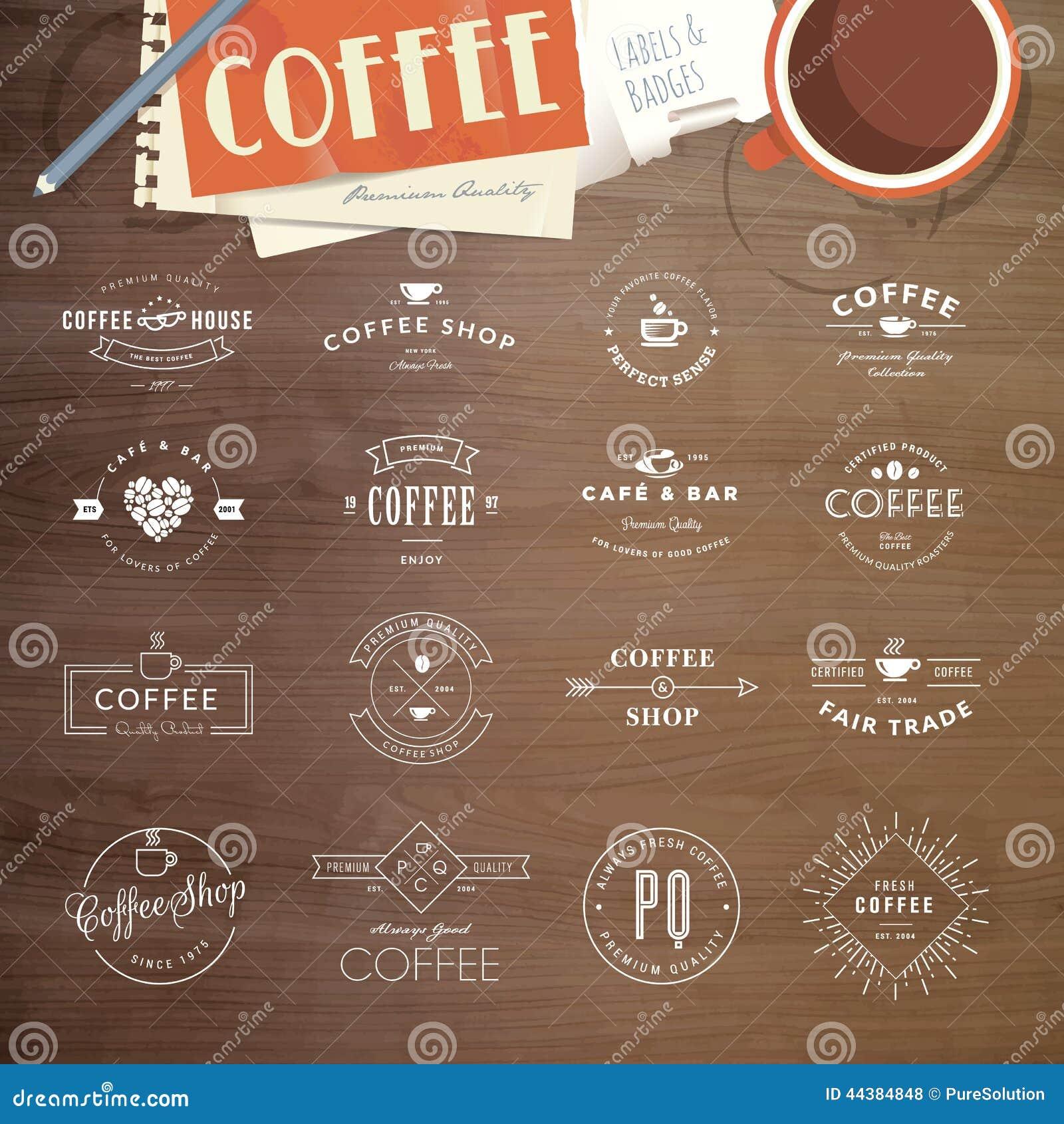 Uppsättning av emblem och etiketter för kaffe