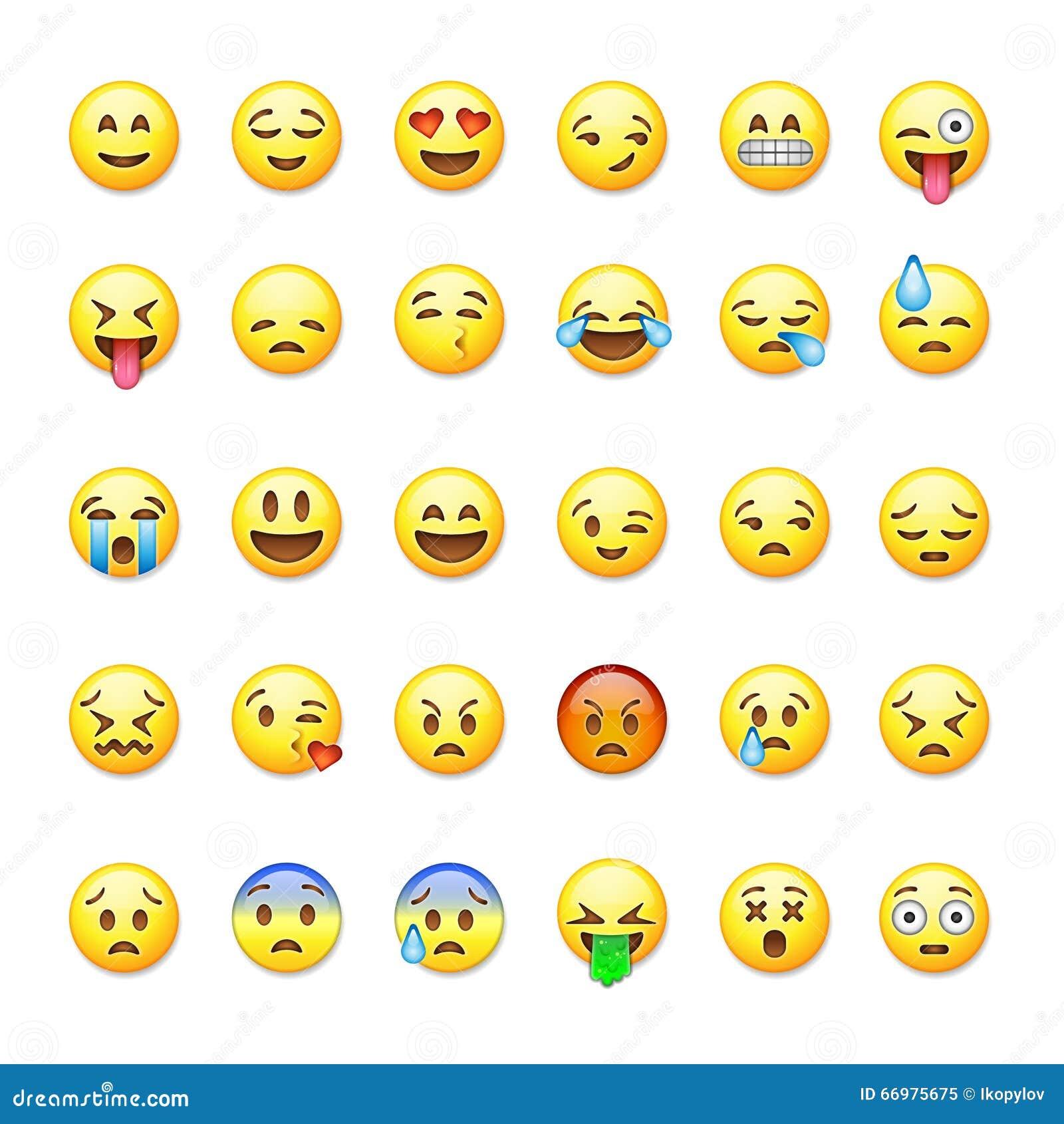 Uppsättning av emoticons, emoji på