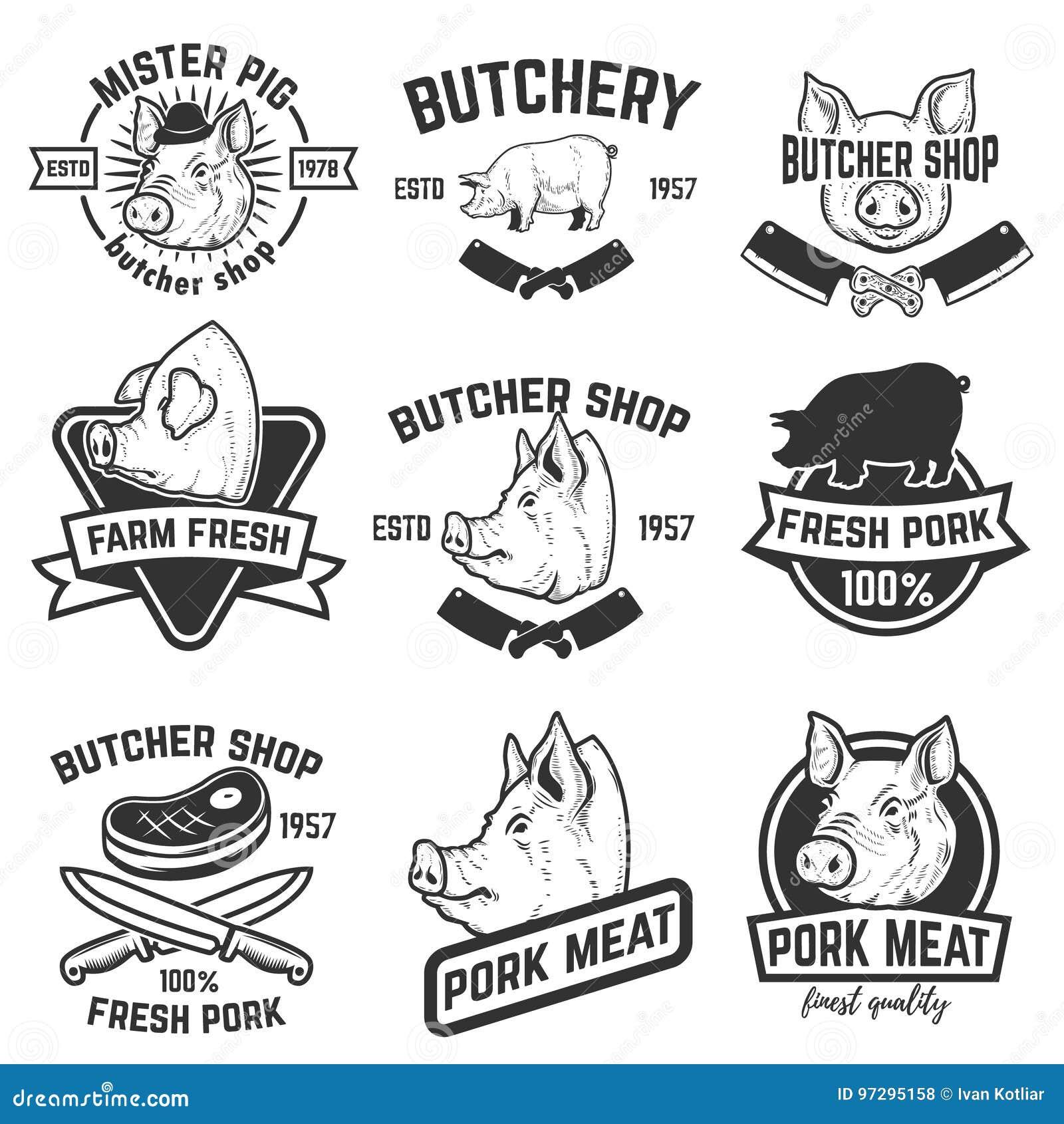 Uppsättning av etiketter för grisköttkött Slaktare Shop Svinhuvud vektor för bild för designelementillustration