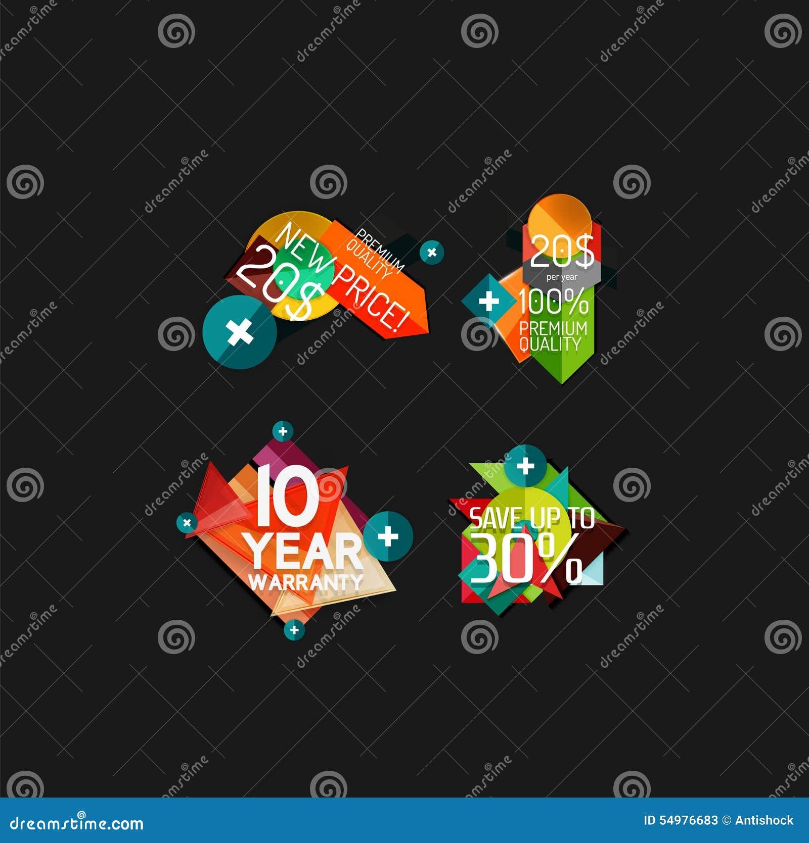 Uppsättning av etiketter, klistermärkear, baner, emblem och