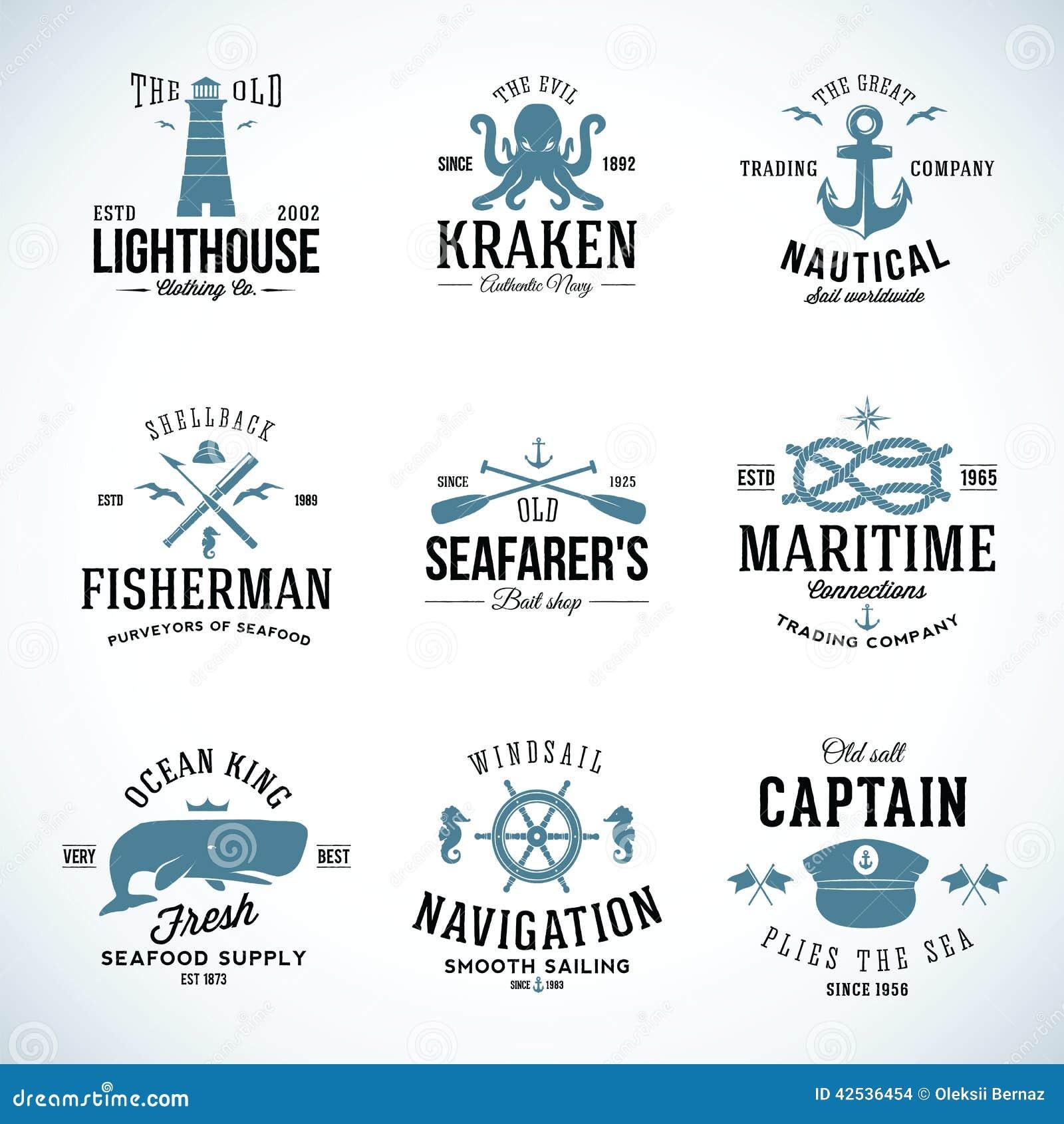 Uppsättning av etiketter och tecken för tappning nautiska med