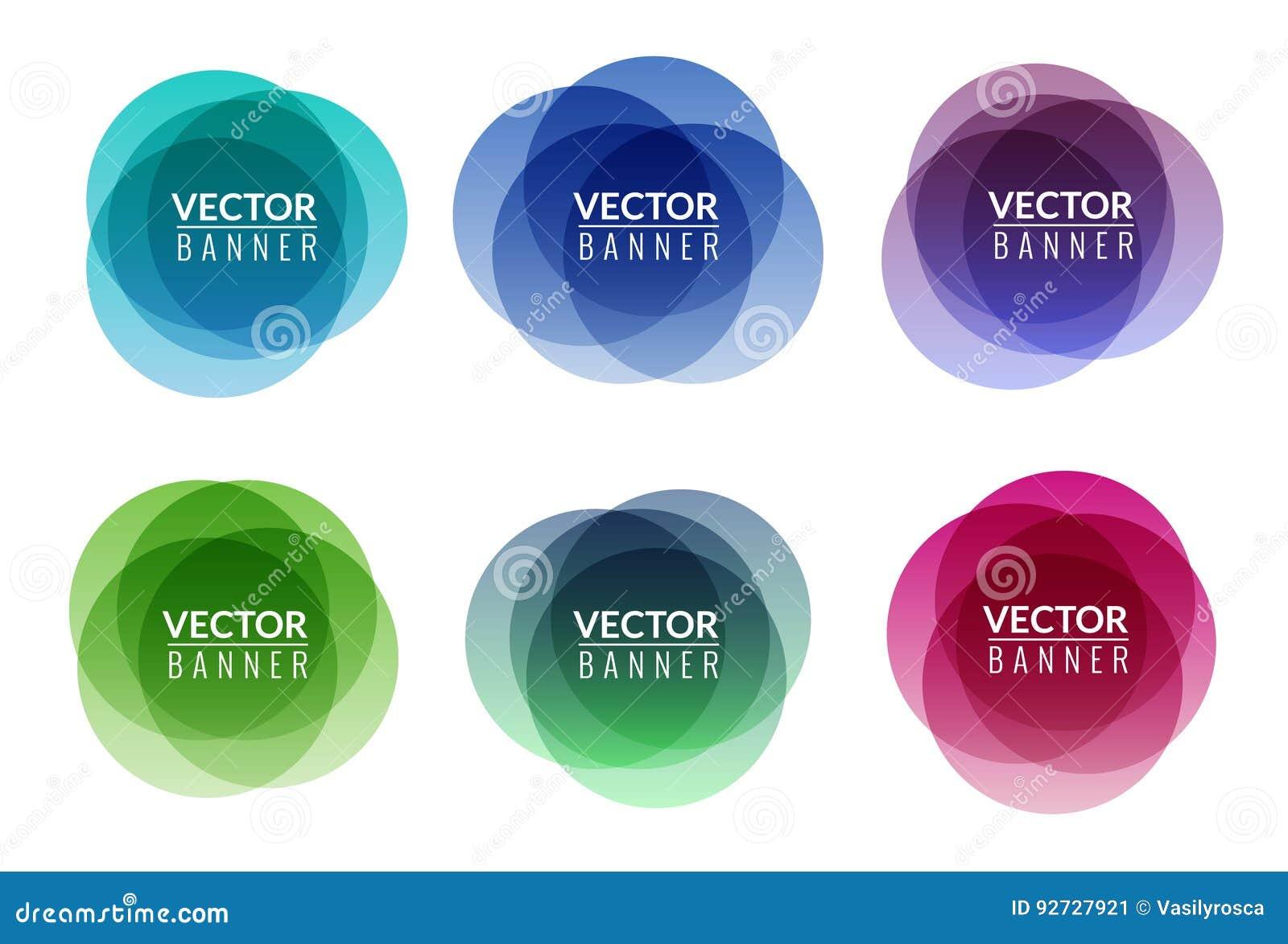 Uppsättning av färgrik form för samkopiering för rundaabstrakt begreppbaner Grafisk banerdesign Grafiskt roligt etikettsbegrepp f