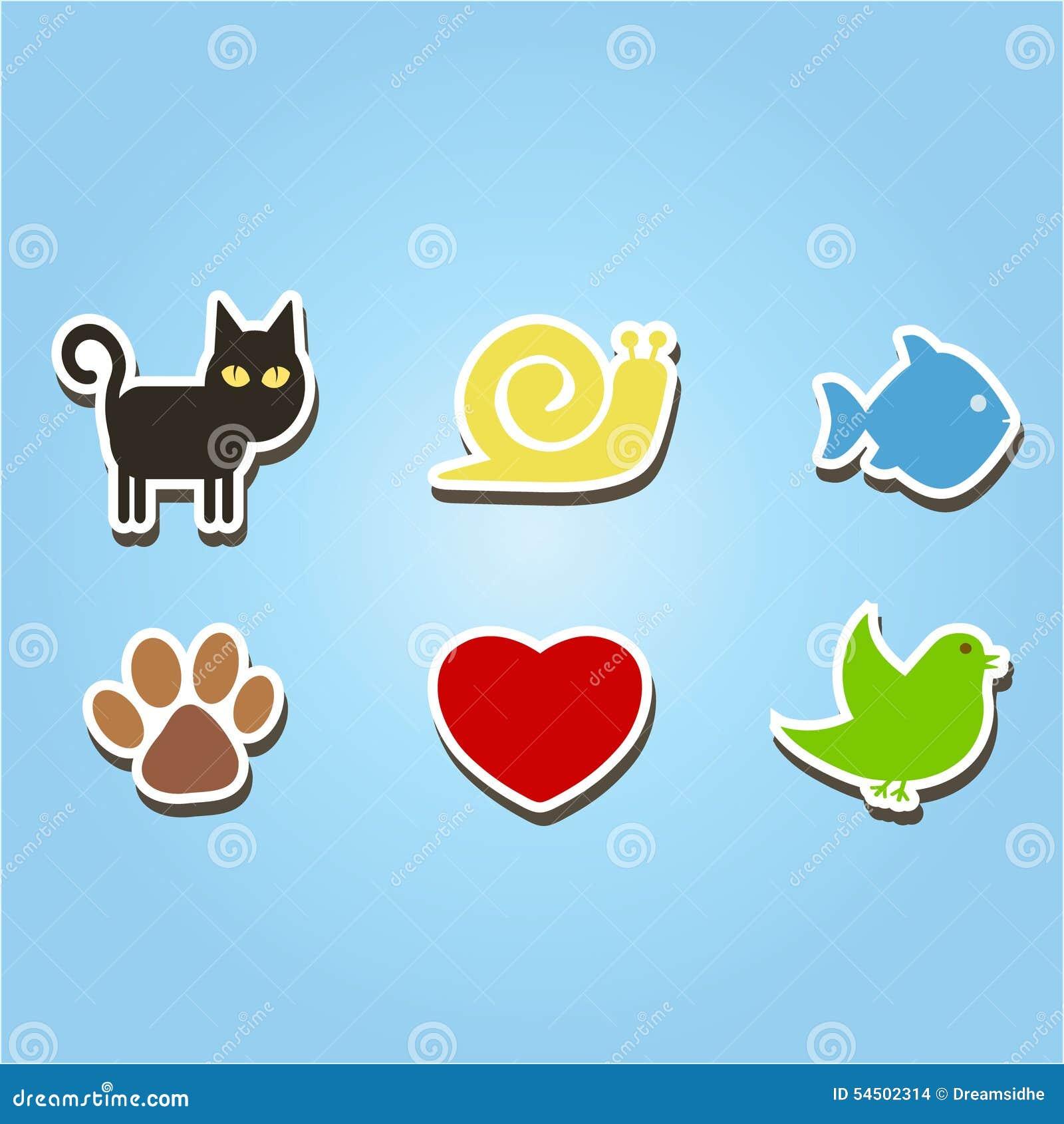 Uppsättning av färgsymboler med husdjur