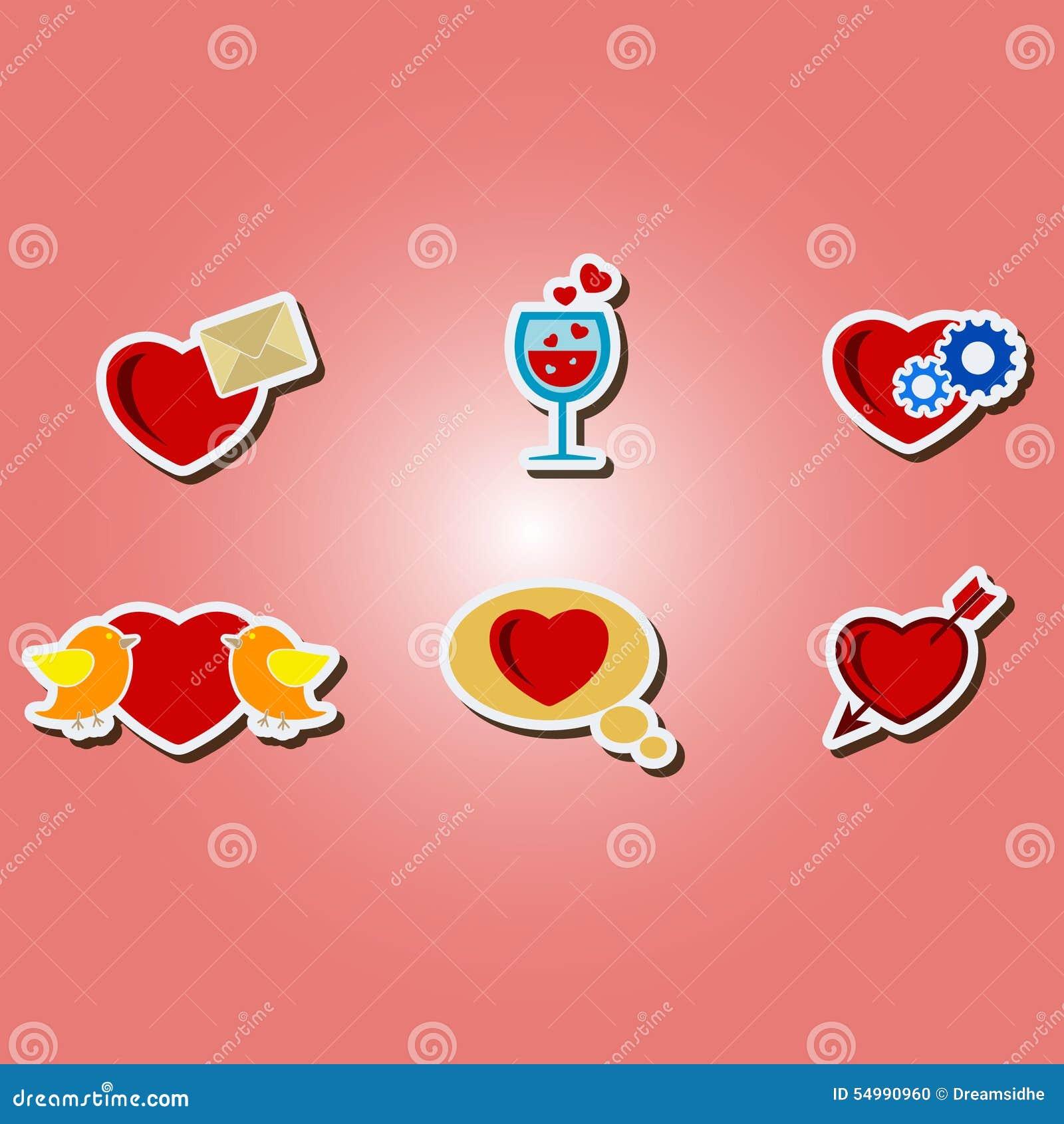 Uppsättning av färgsymboler med symboler av valentin dag