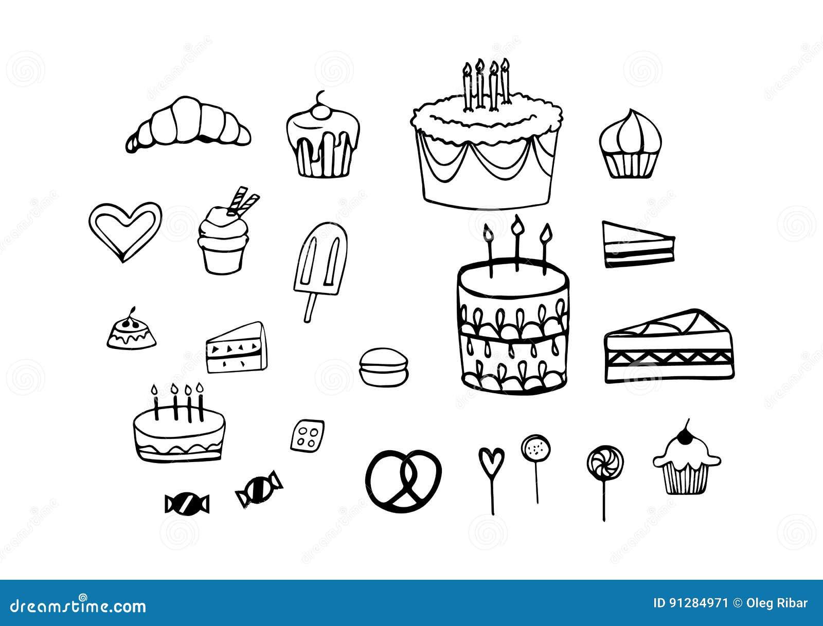 Uppsättning av födelsedagkakor, godis och bakelse i vektorsymbolskonturer